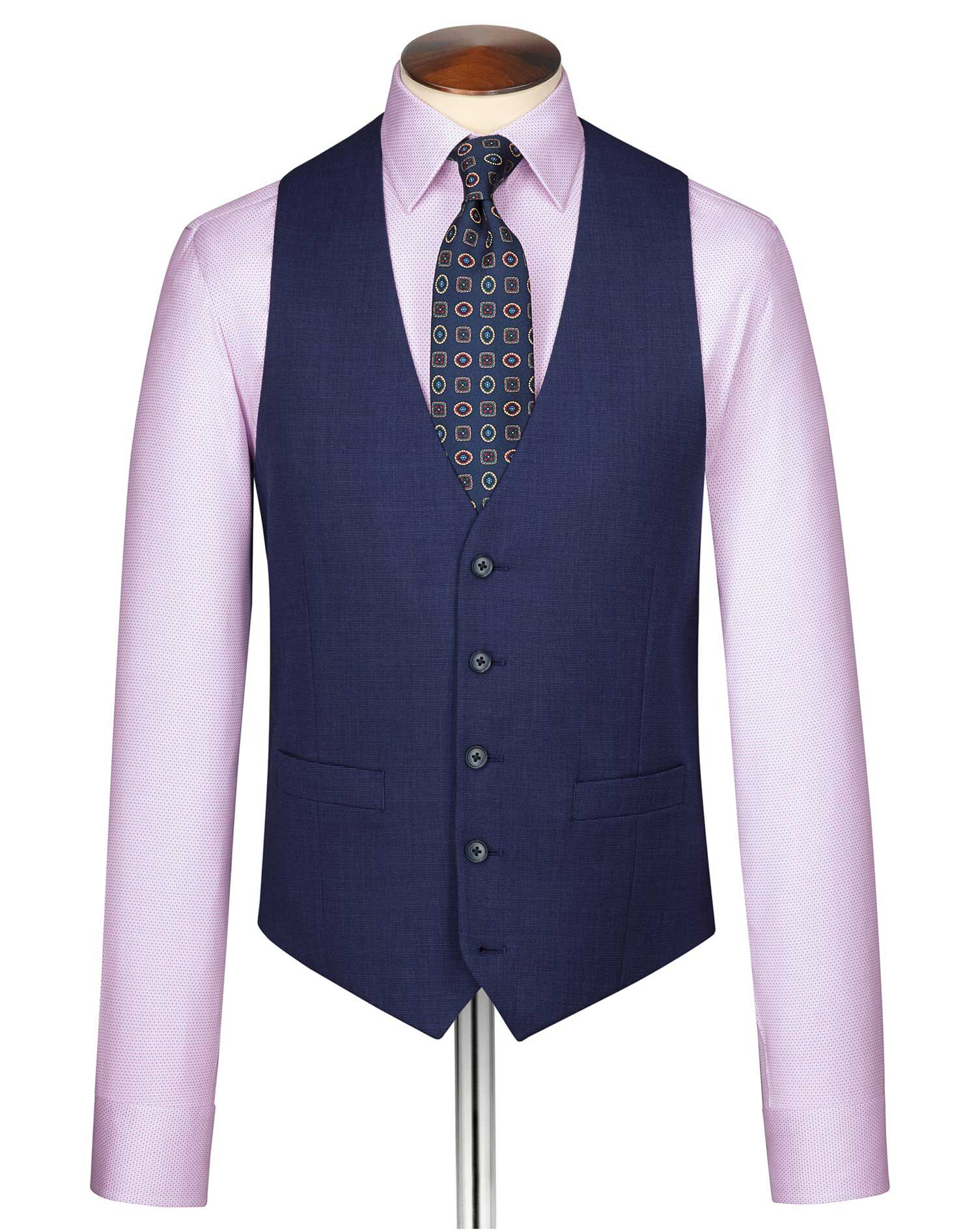 Indigo End-On-End Business Suit Wool Waistcoat Size w46 by Charles Tyrwhitt