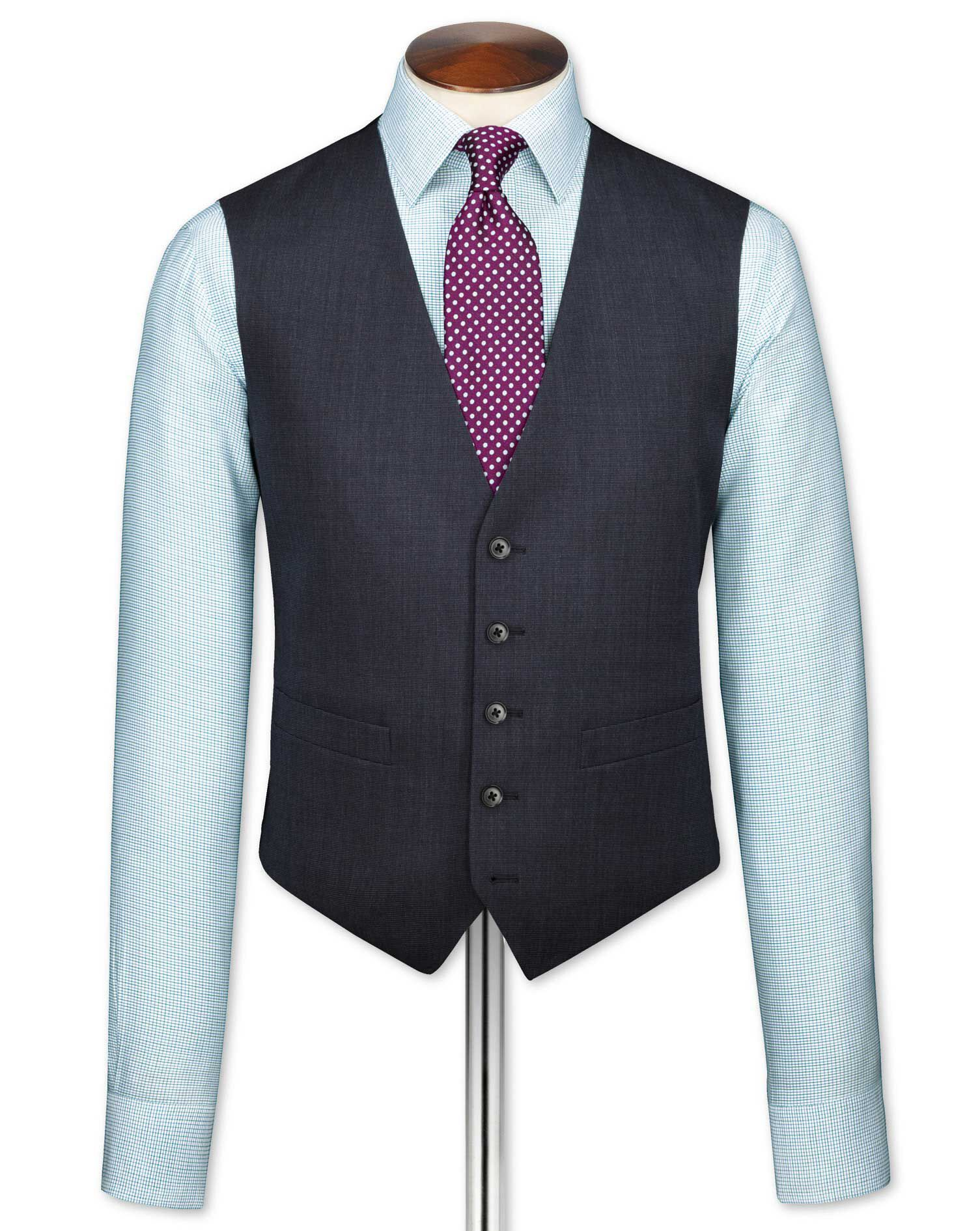 Navy End-On-End Business Suit Wool Waistcoat Size w46 by Charles Tyrwhitt