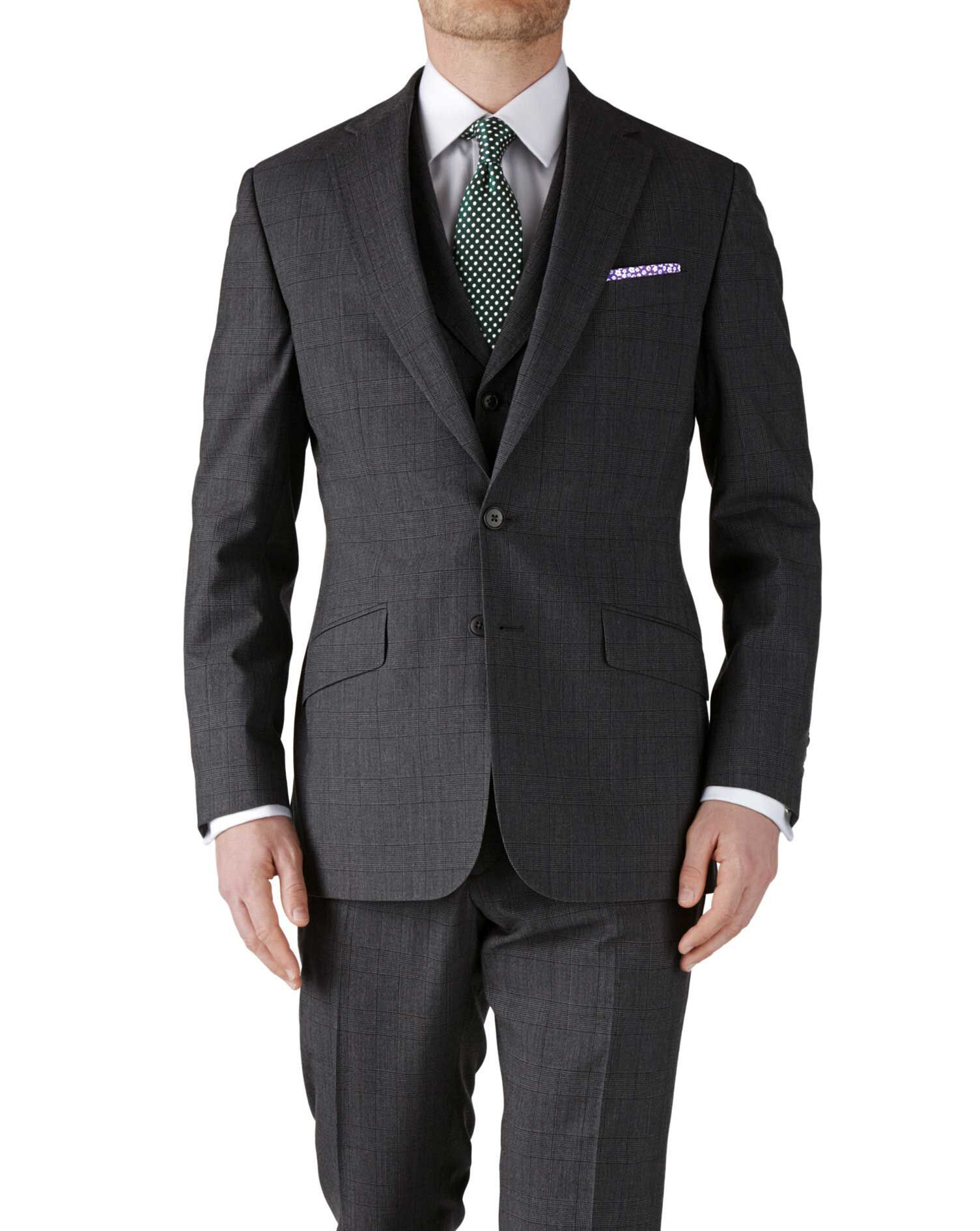 Grey Check Slim Fit Flannel Business Suit Wool Jacket Size 38 Long by Charles Tyrwhitt