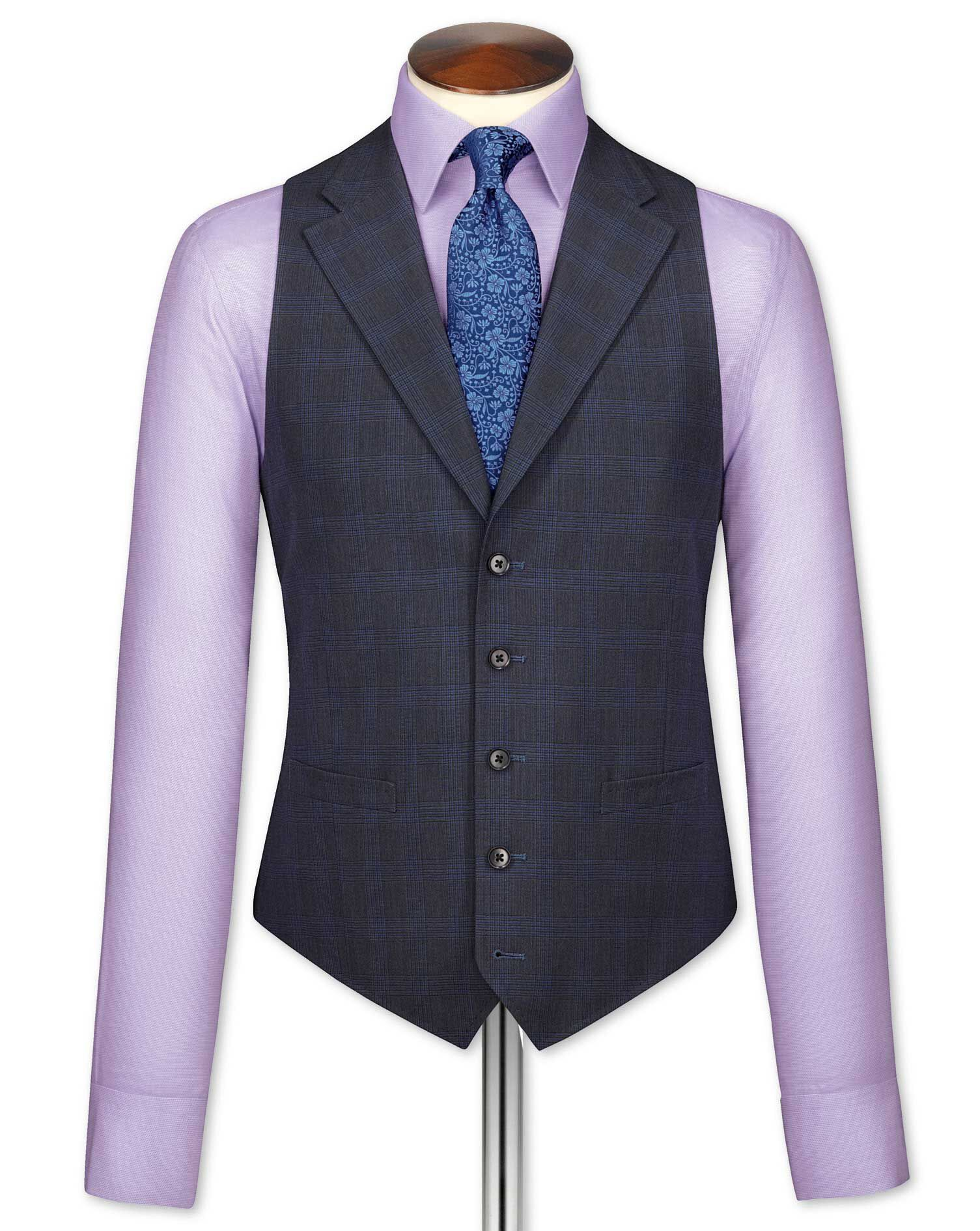 Blue Check Flannel Business Suit Wool Waistcoat Size w36 by Charles Tyrwhitt