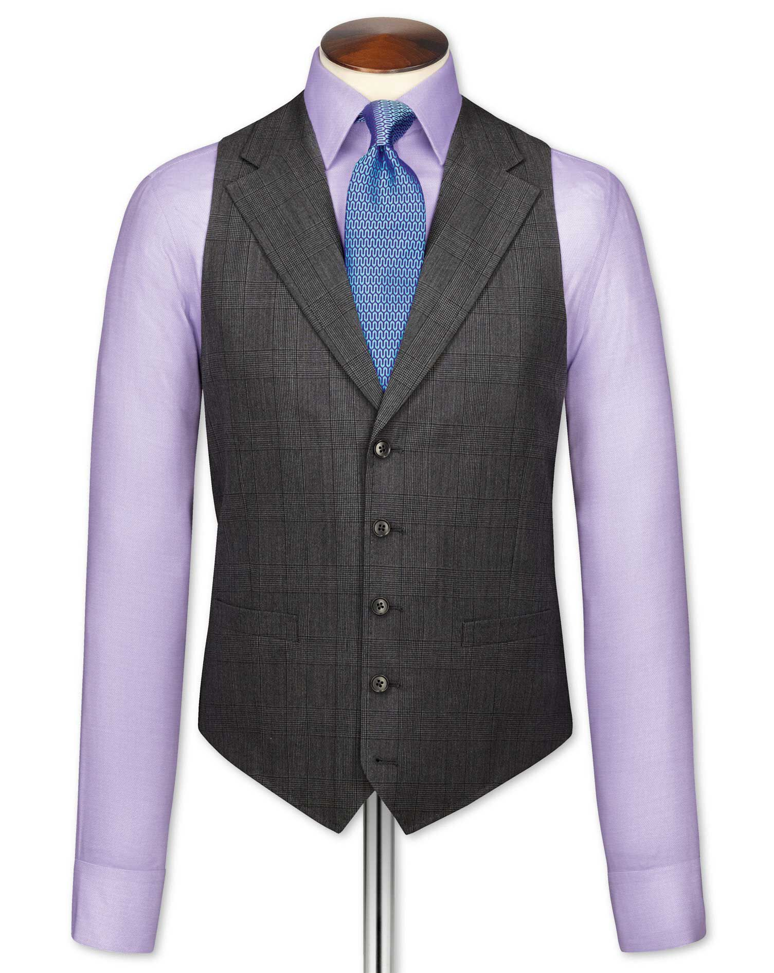 Grey Check Flannel Business Suit Wool Waistcoat Size w38 by Charles Tyrwhitt