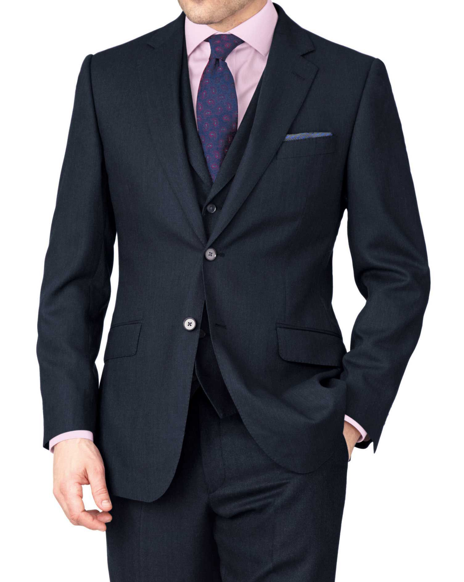 Indigo Classic Fit Saxony Business Suit Wool Jacket Size 38 by Charles Tyrwhitt
