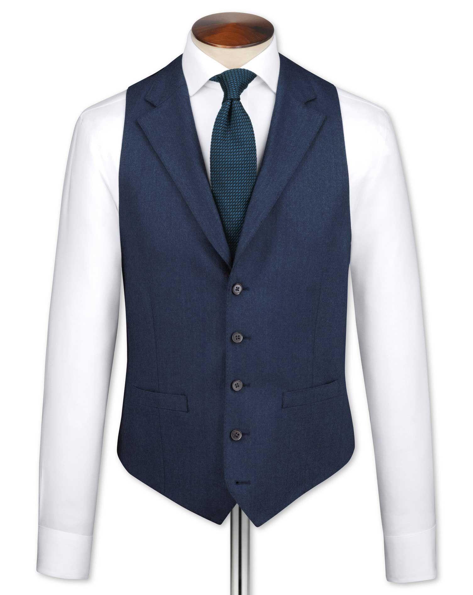 Blue Saxony Business Suit Wool Waistcoat Size w38 by Charles Tyrwhitt