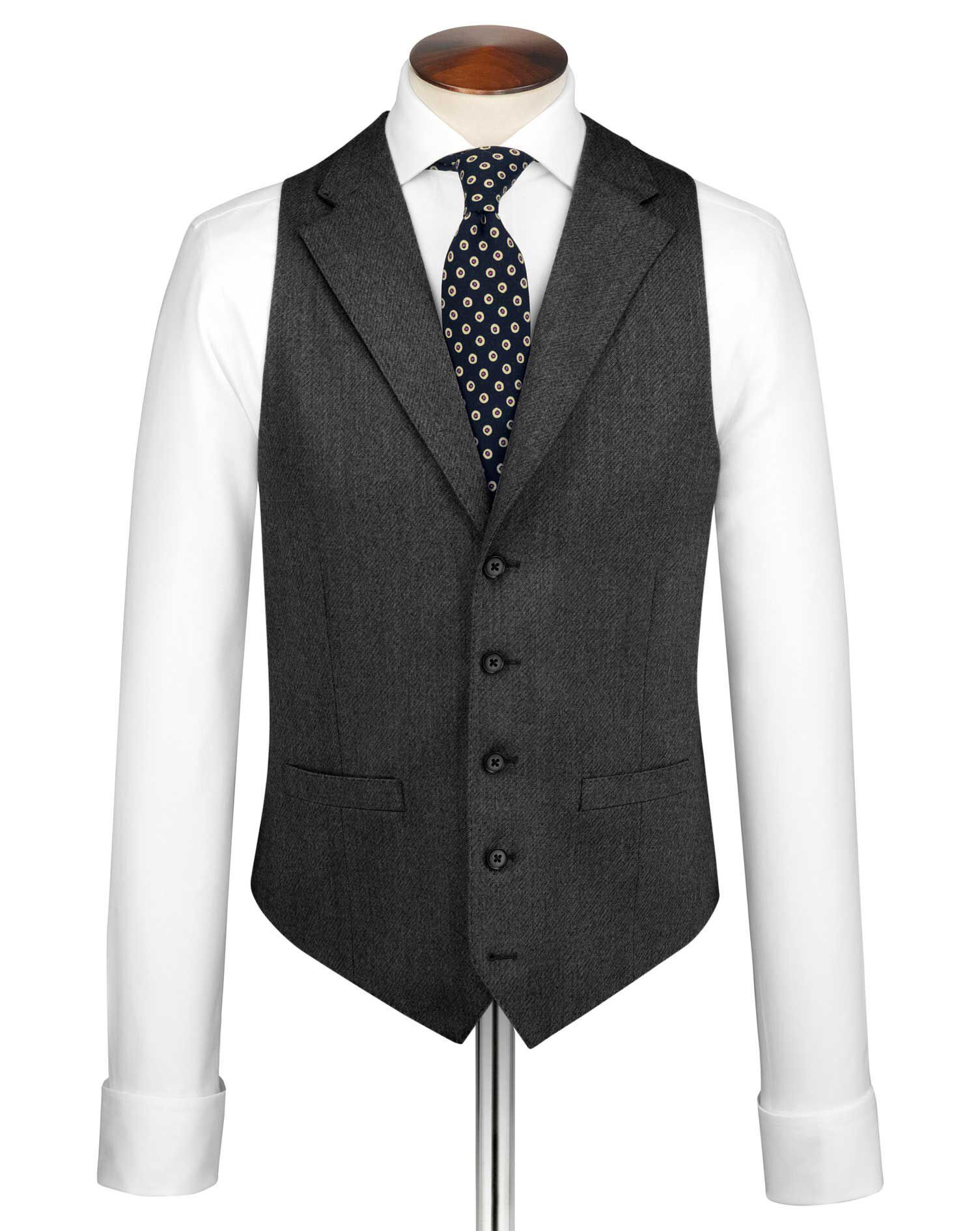 Grey Saxony Business Suit Wool Waistcoat Size w42 by Charles Tyrwhitt