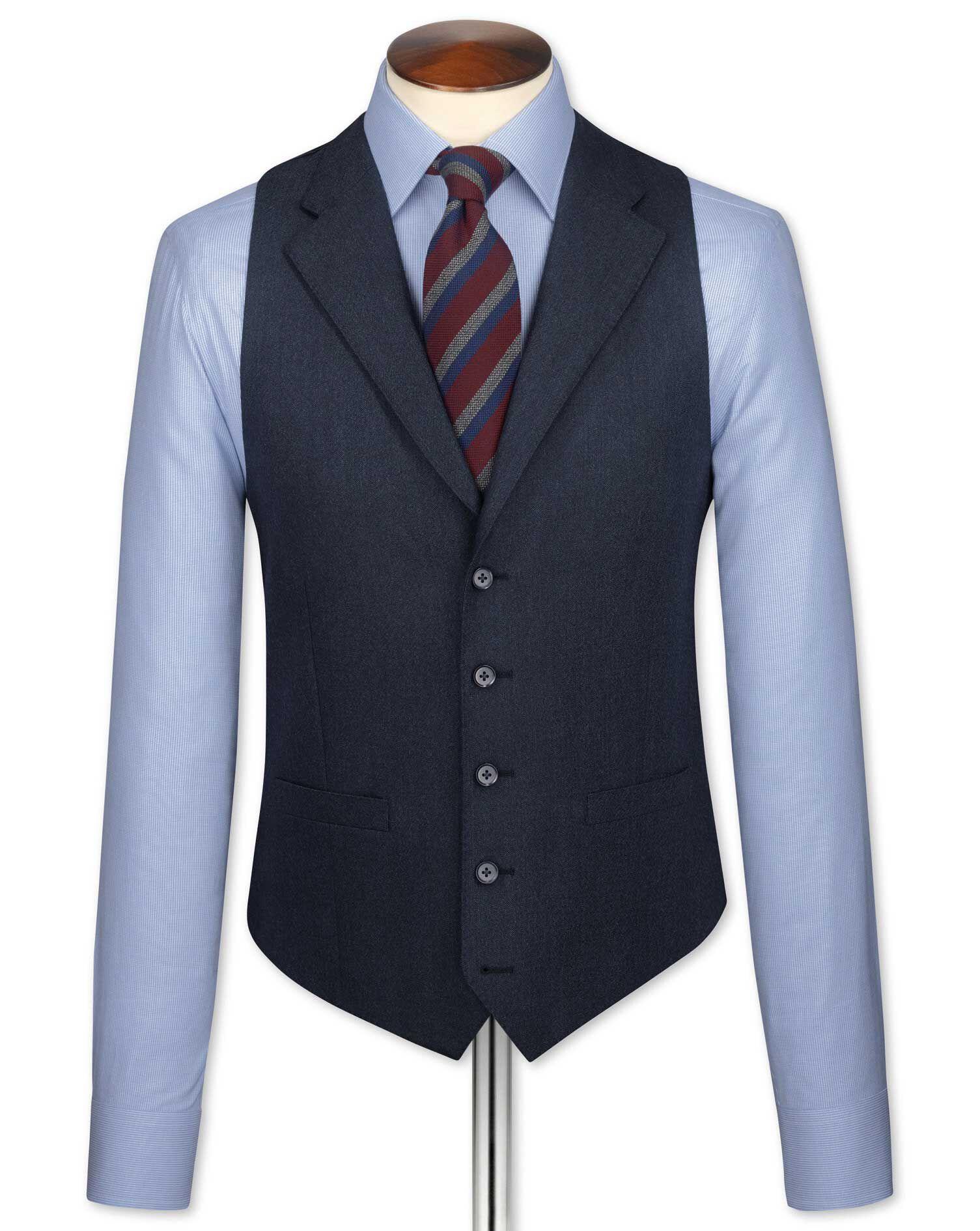 Indigo Saxony Business Suit Wool Waistcoat Size w46 by Charles Tyrwhitt