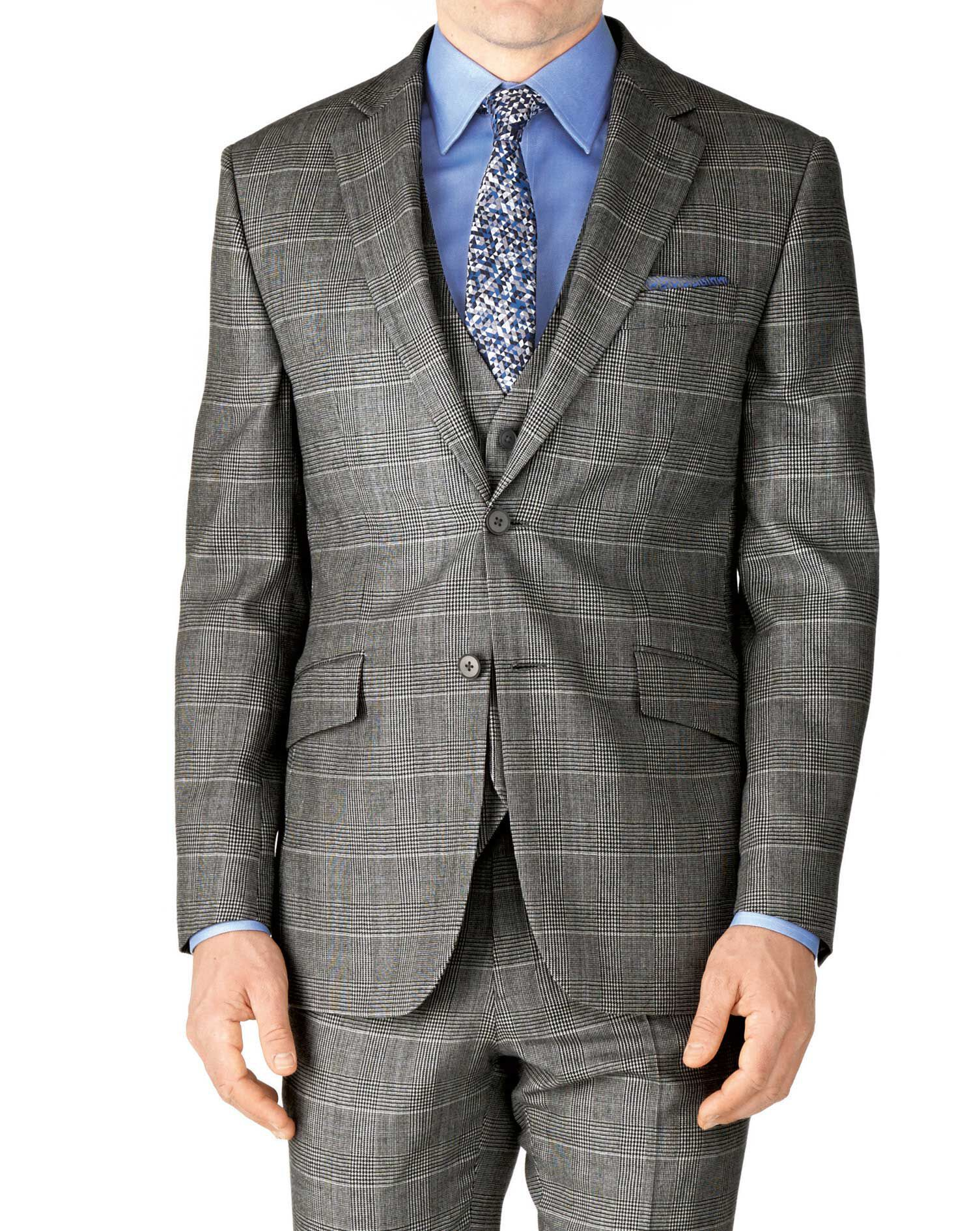 Grey Check Classic Fit Twill Business Suit Wool Jacket Size 38 Long by Charles Tyrwhitt