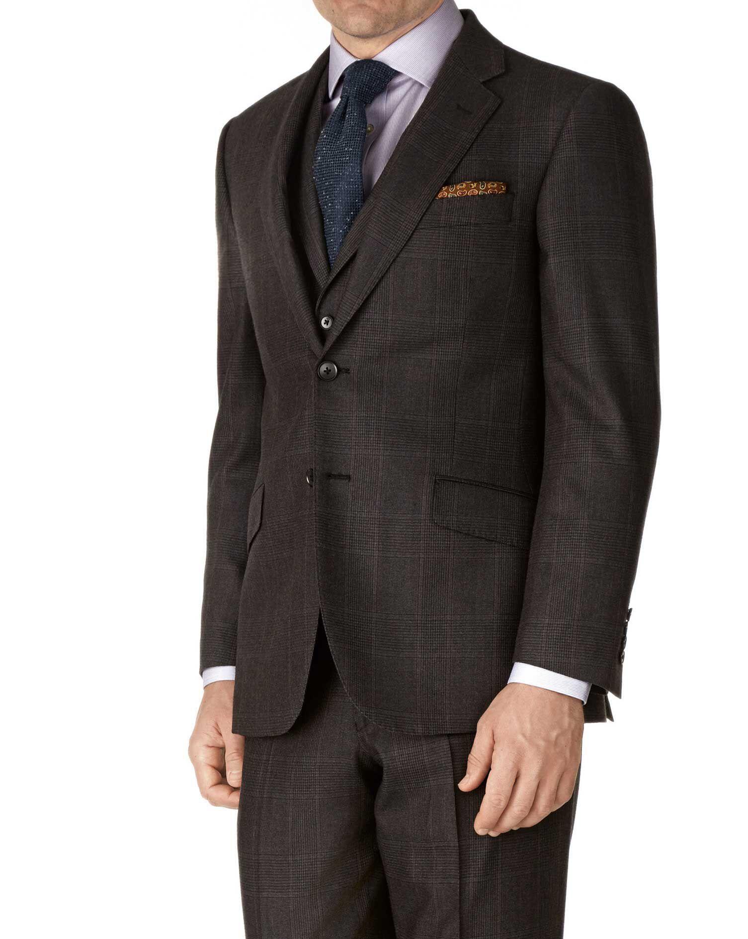 Dark Grey Classic Fit Saxony Business Suit Wool Jacket Size 42 by Charles Tyrwhitt