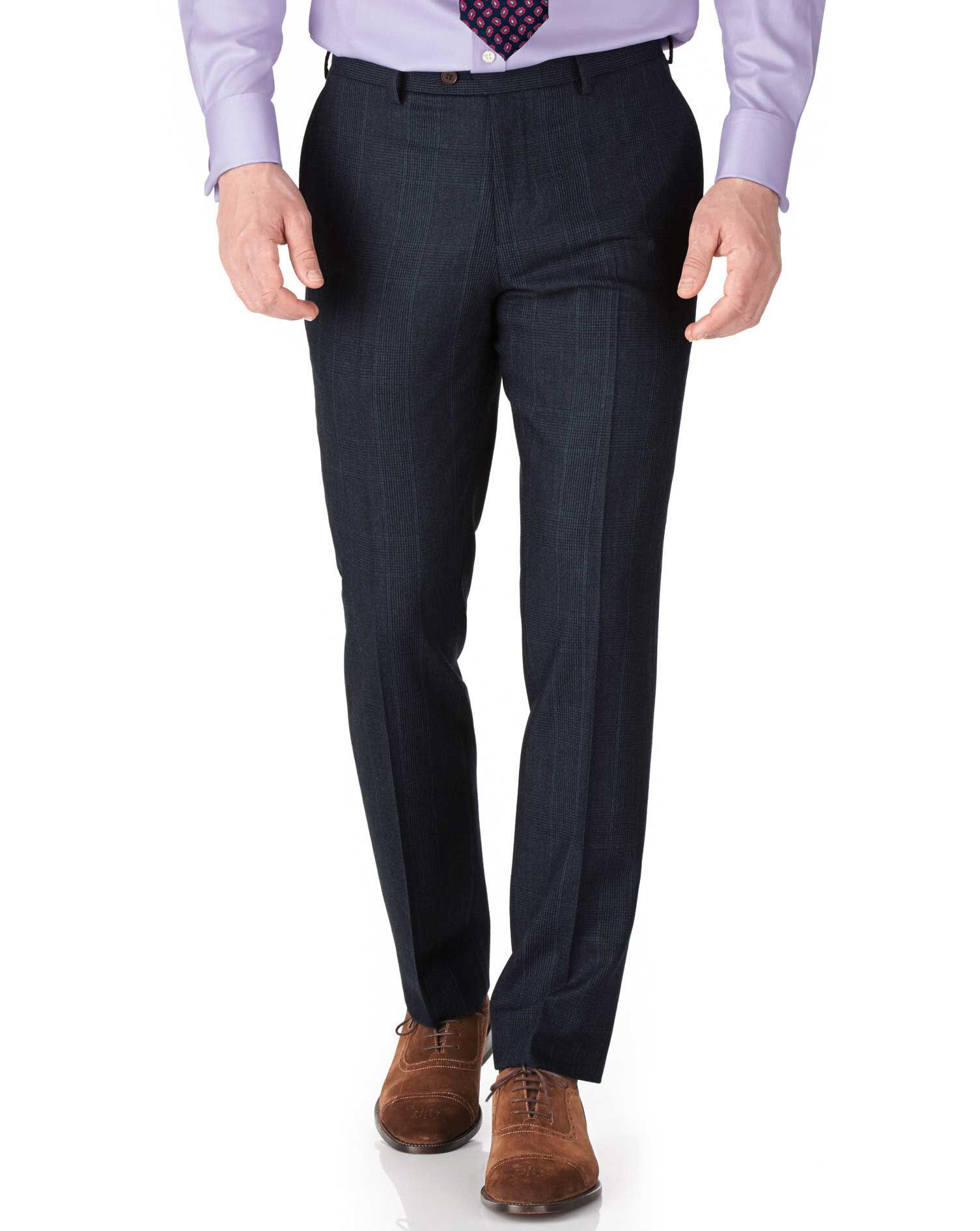 Navy Check Slim Fit Saxony Business Suit Trousers Size W38 L38 by Charles Tyrwhitt