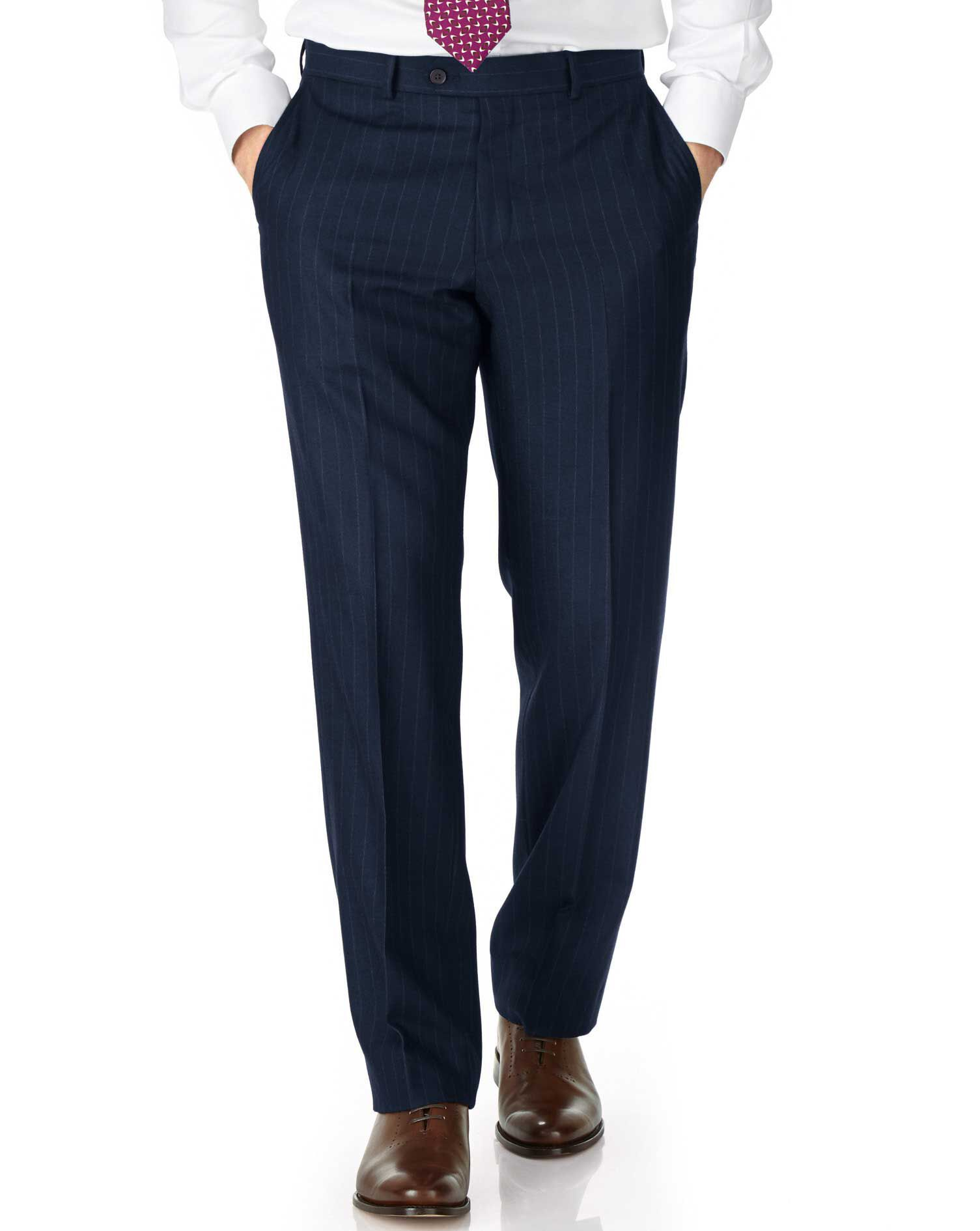 Navy Classic Fit Saxony Business Suit Trousers Size W32 L38 by Charles Tyrwhitt