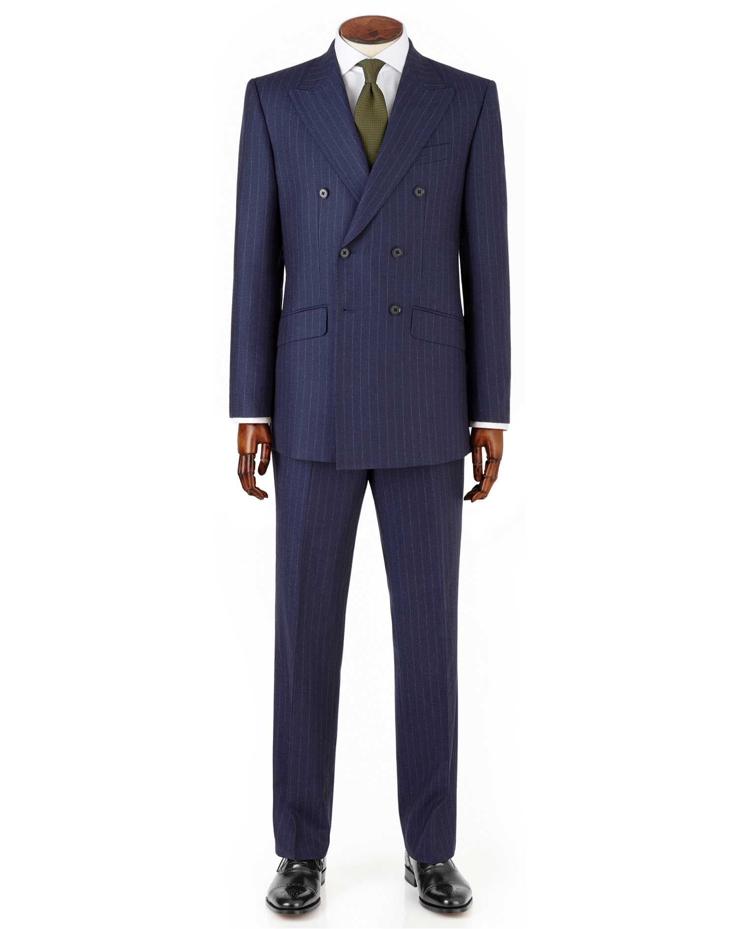 Navy Slim Fit Saxony Business Suit Wool Jacket Size 38 by Charles Tyrwhitt