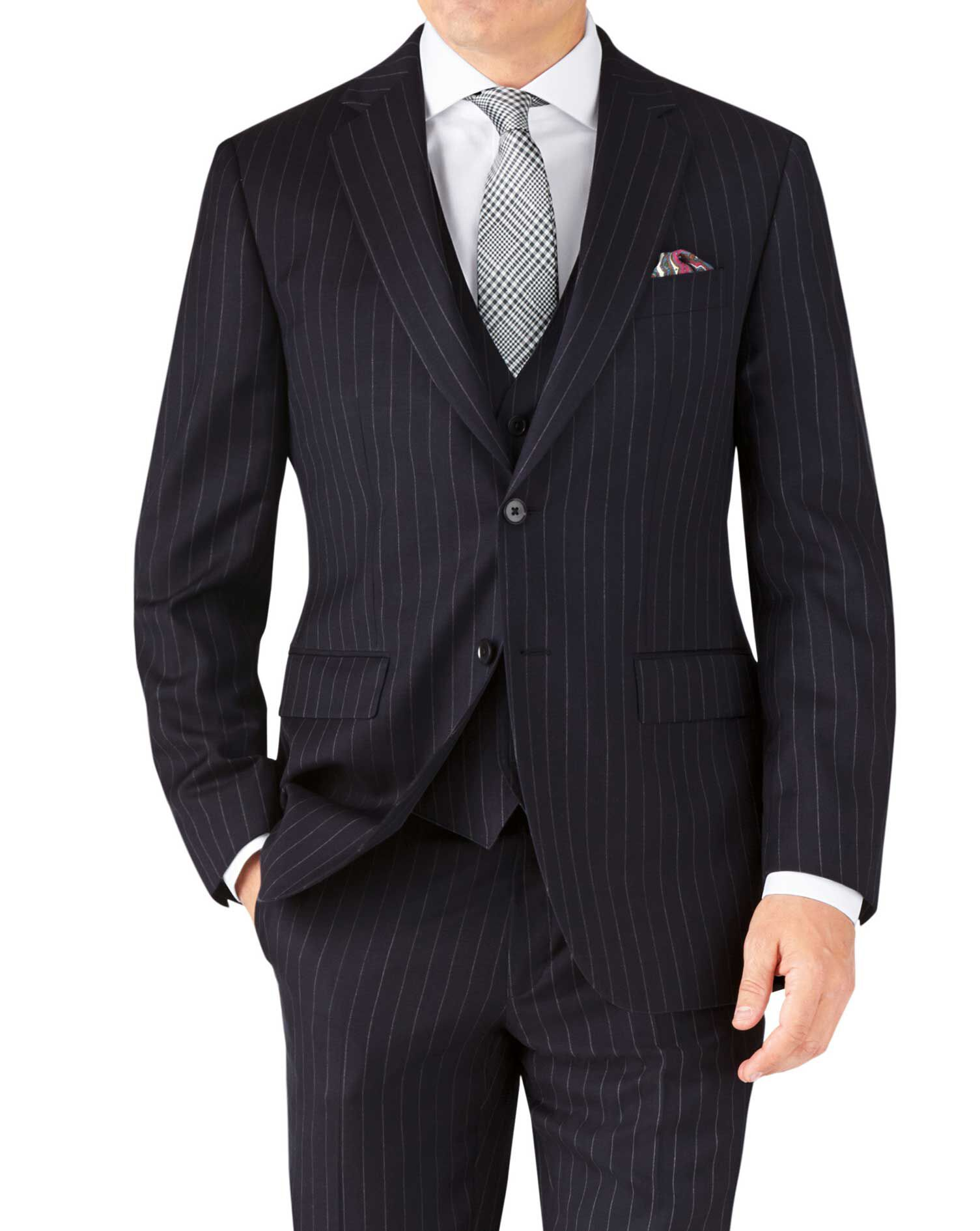 Navy Stripe Classic Fit Twill Business Suit Wool Jacket Size 36 Short by Charles Tyrwhitt