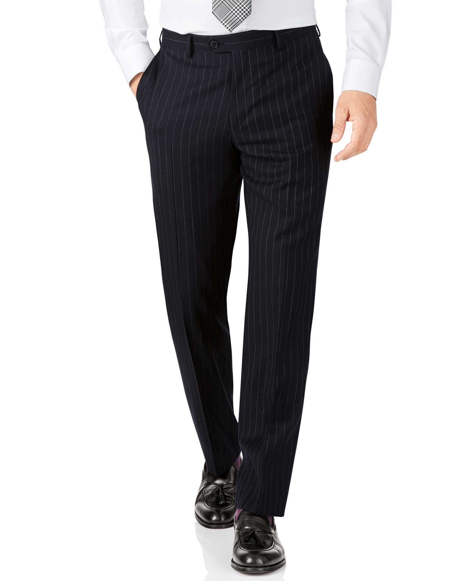 Navy Stripe Classic Fit Twill Business Suit Trousers Size W34 L34 by Charles Tyrwhitt