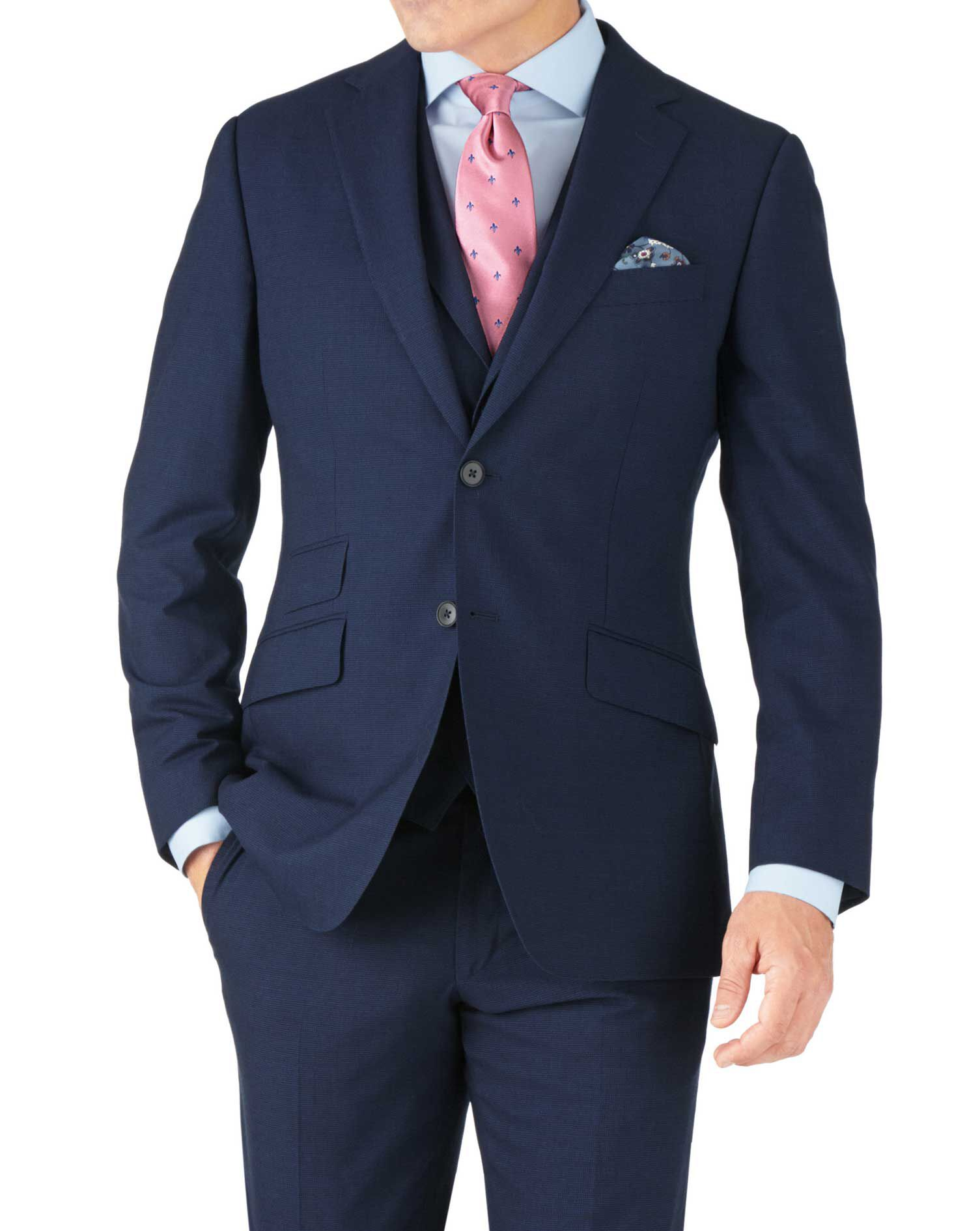 Indigo Blue Puppytooth Slim Fit Panama Business Suit Wool Jacket Size 40 Long by Charles Tyrwhitt