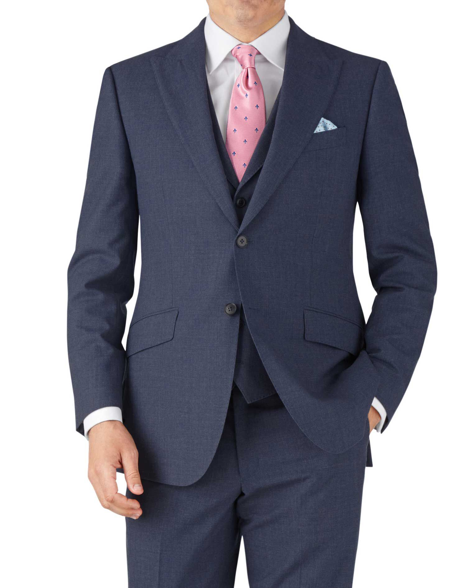 Airforce Blue Puppytooth Classic Fit Panama Business Suit Wool Jacket Size 36 by Charles Tyrwhitt