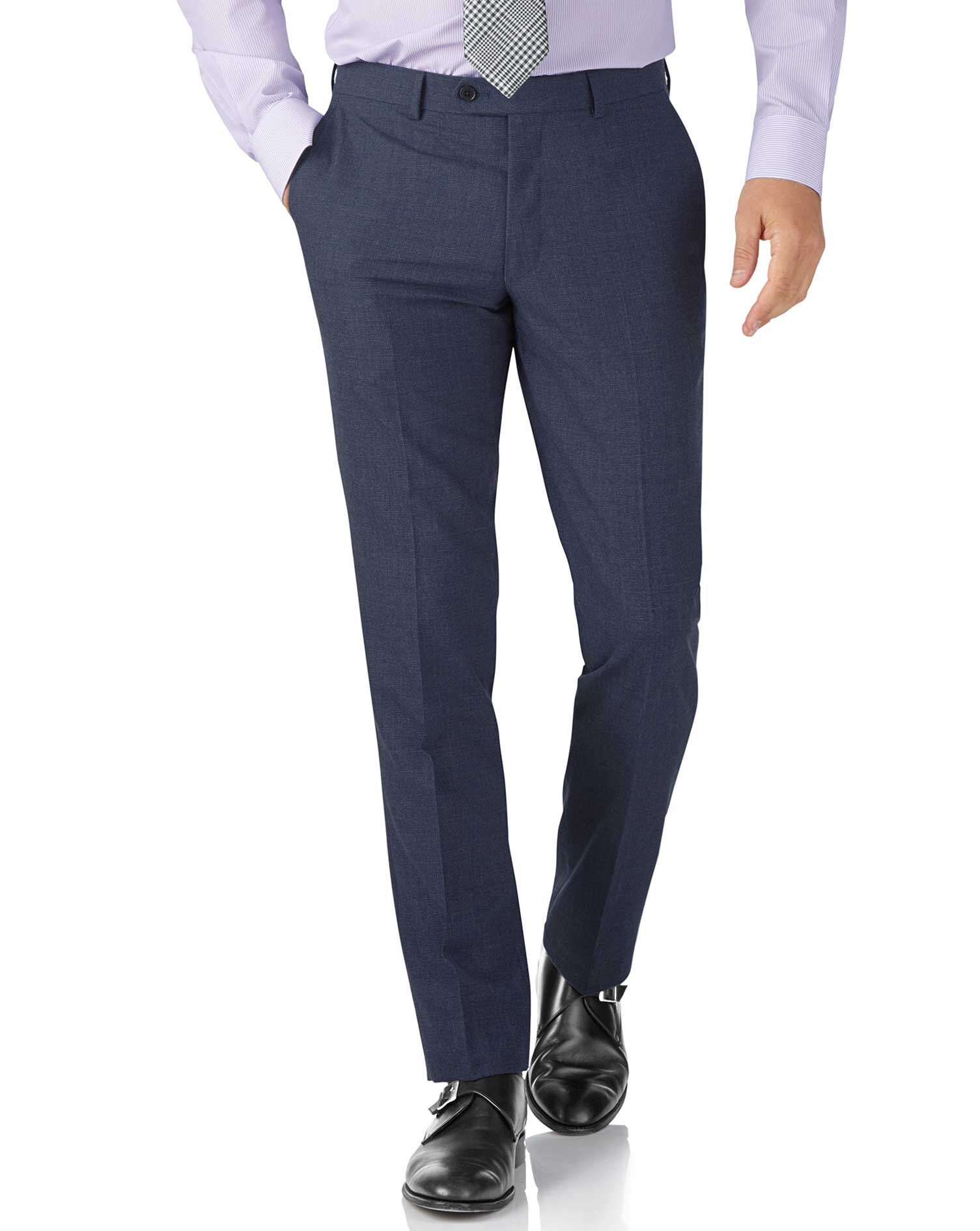 Airforce Blue Puppytooth Slim Fit Panama Business Suit Trouser Size W42 L38 by Charles Tyrwhitt