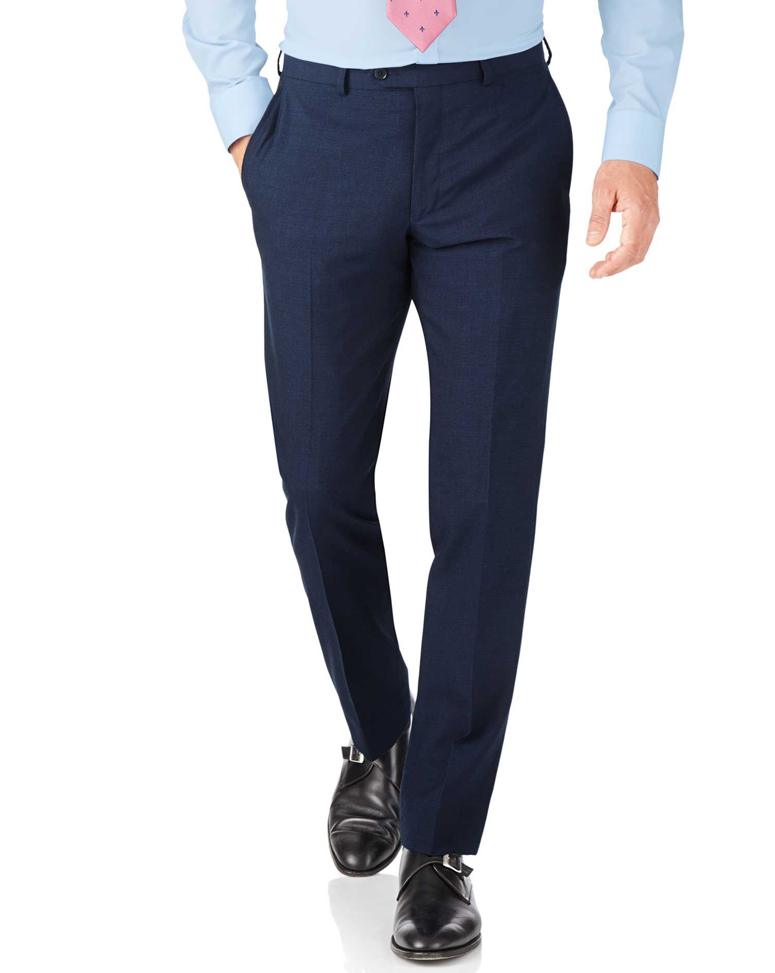 Indigo Blue Puppytooth Slim Fit Panama Business Suit Trouser Size W38 L32 by Charles Tyrwhitt