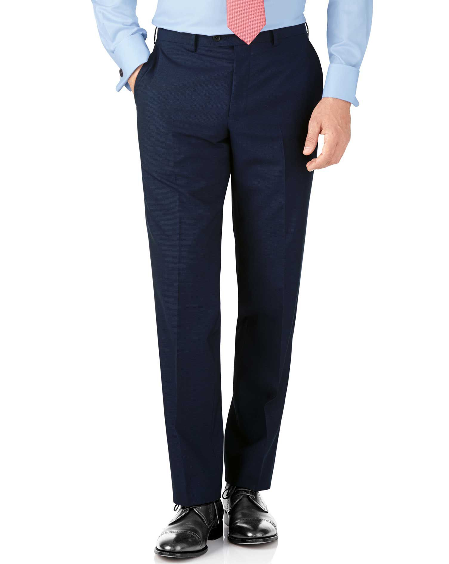 Indigo Blue Puppytooth Classic Fit Panama Business Suit Trouser Size W40 L32 by Charles Tyrwhitt