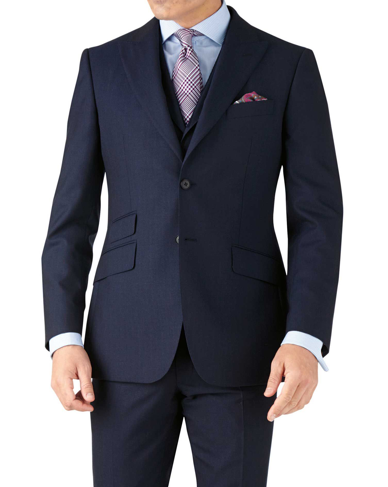 Blue Stripe Slim Fit Panama Business Suit Wool Jacket Size 36 Regular by Charles Tyrwhitt