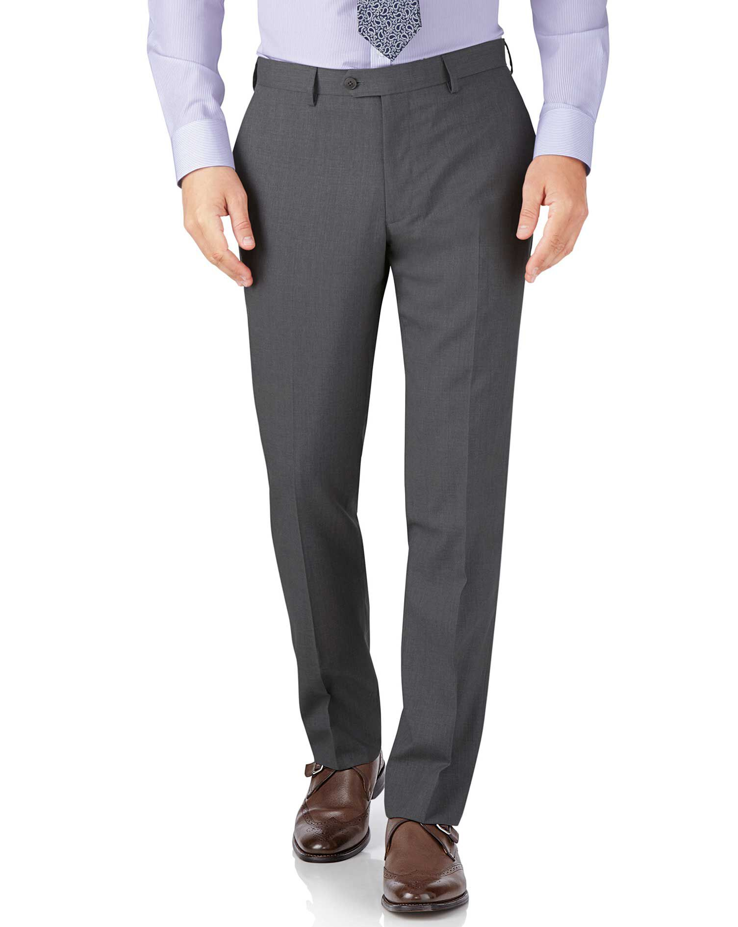 Silver Slim Fit Crepe Business Suit Trousers Size W40 L34 by Charles Tyrwhitt