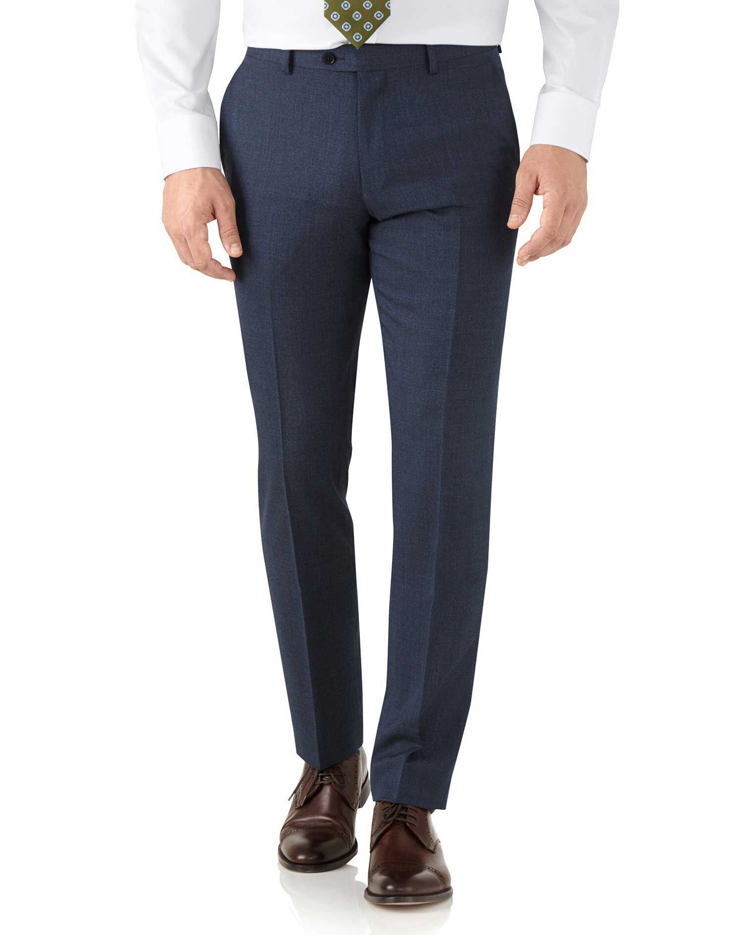 Airforce Blue Slim Fit Hairline Business Suit Trousers Size W30 L38 by Charles Tyrwhitt