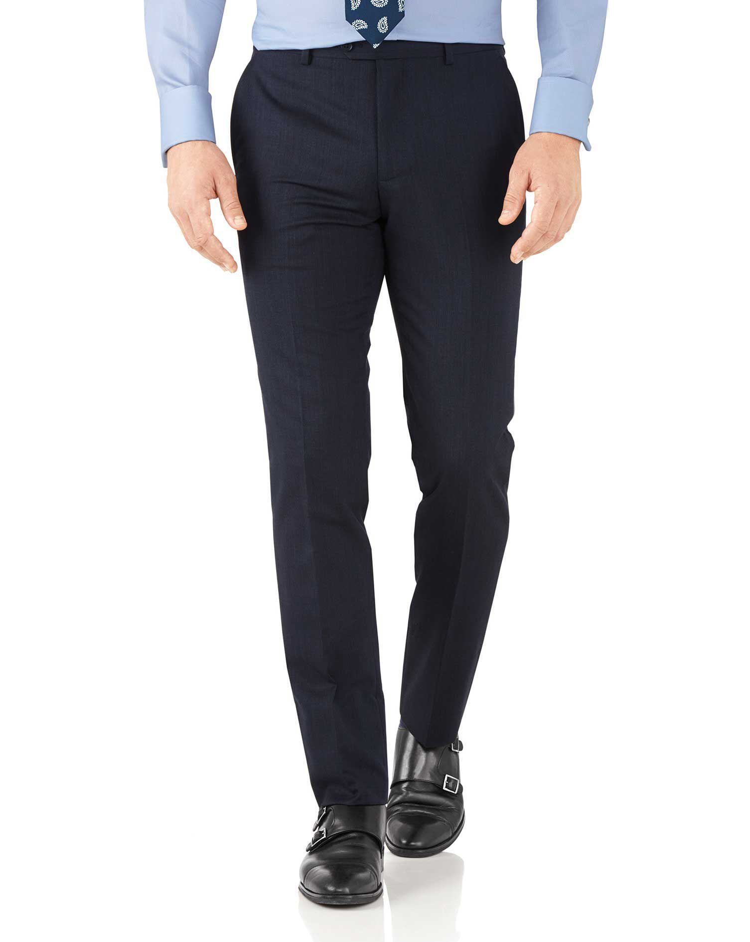 Navy Slim Fit Hairline Business Suit Trousers Size W34 L30 by Charles Tyrwhitt