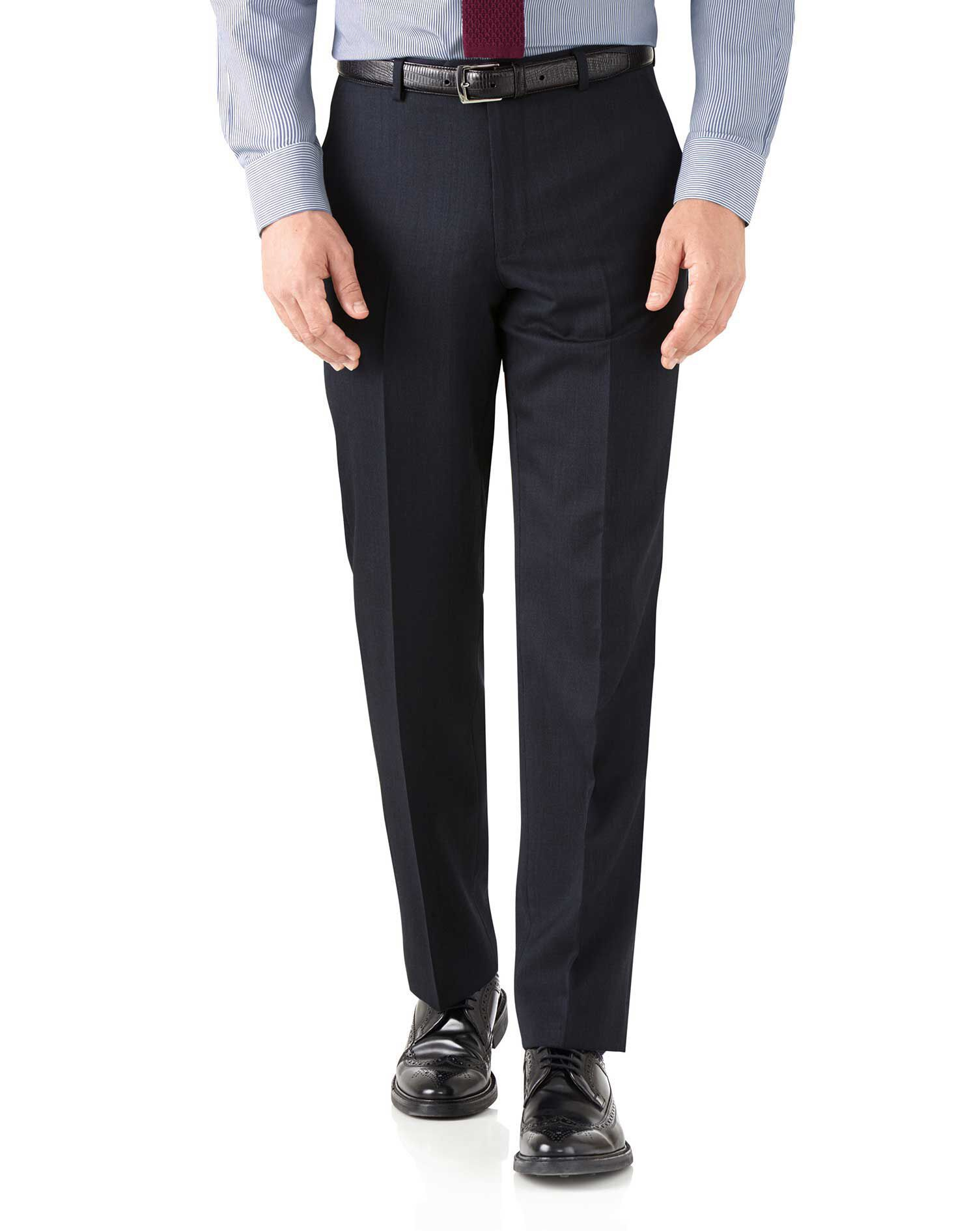 Navy Classic Fit Hairline Business Suit Trousers Size W34 L38 by Charles Tyrwhitt