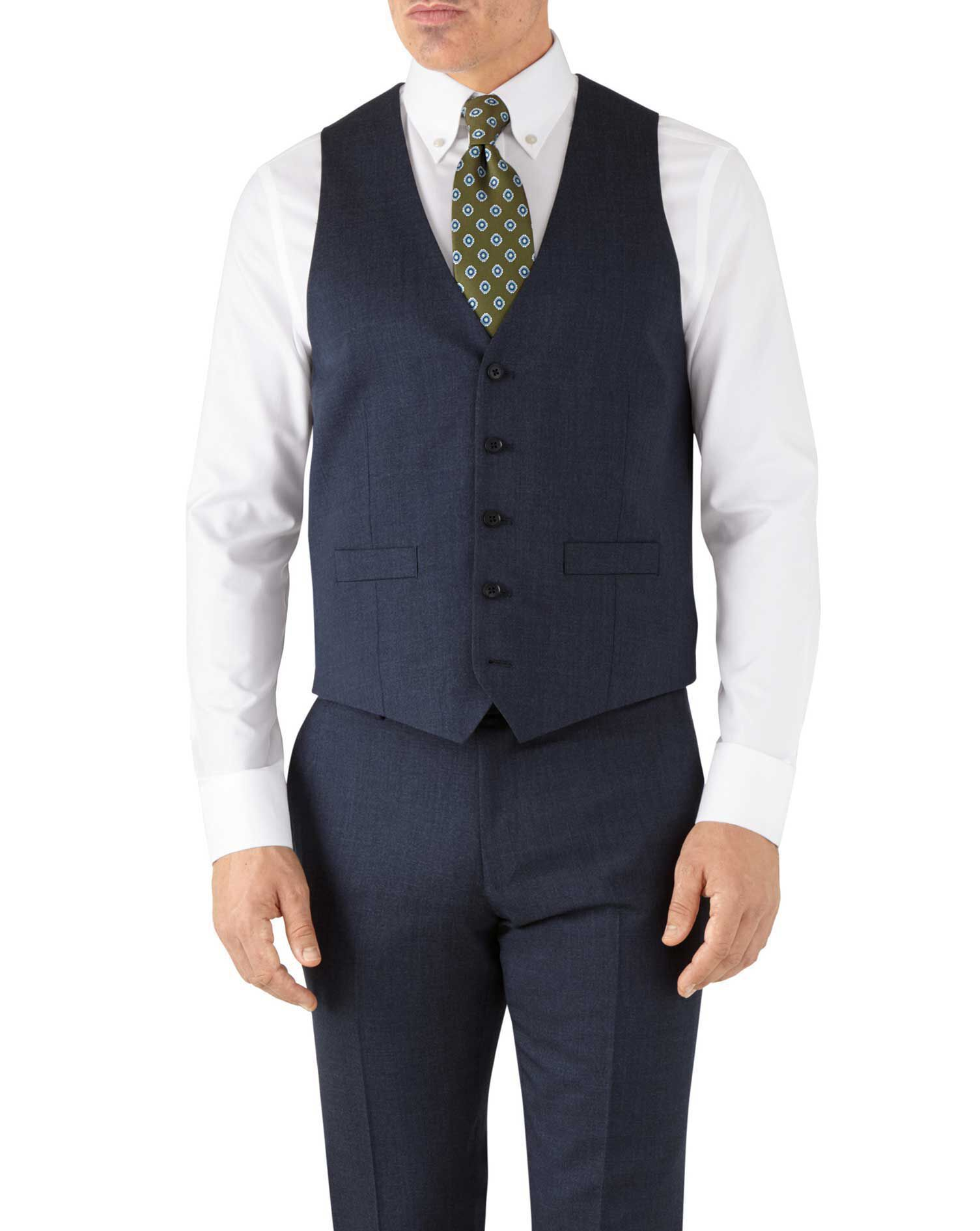 Airforce Blue Adjustable Fit Hairline Business Suit Wool Waistcoat Size w42 by Charles Tyrwhitt