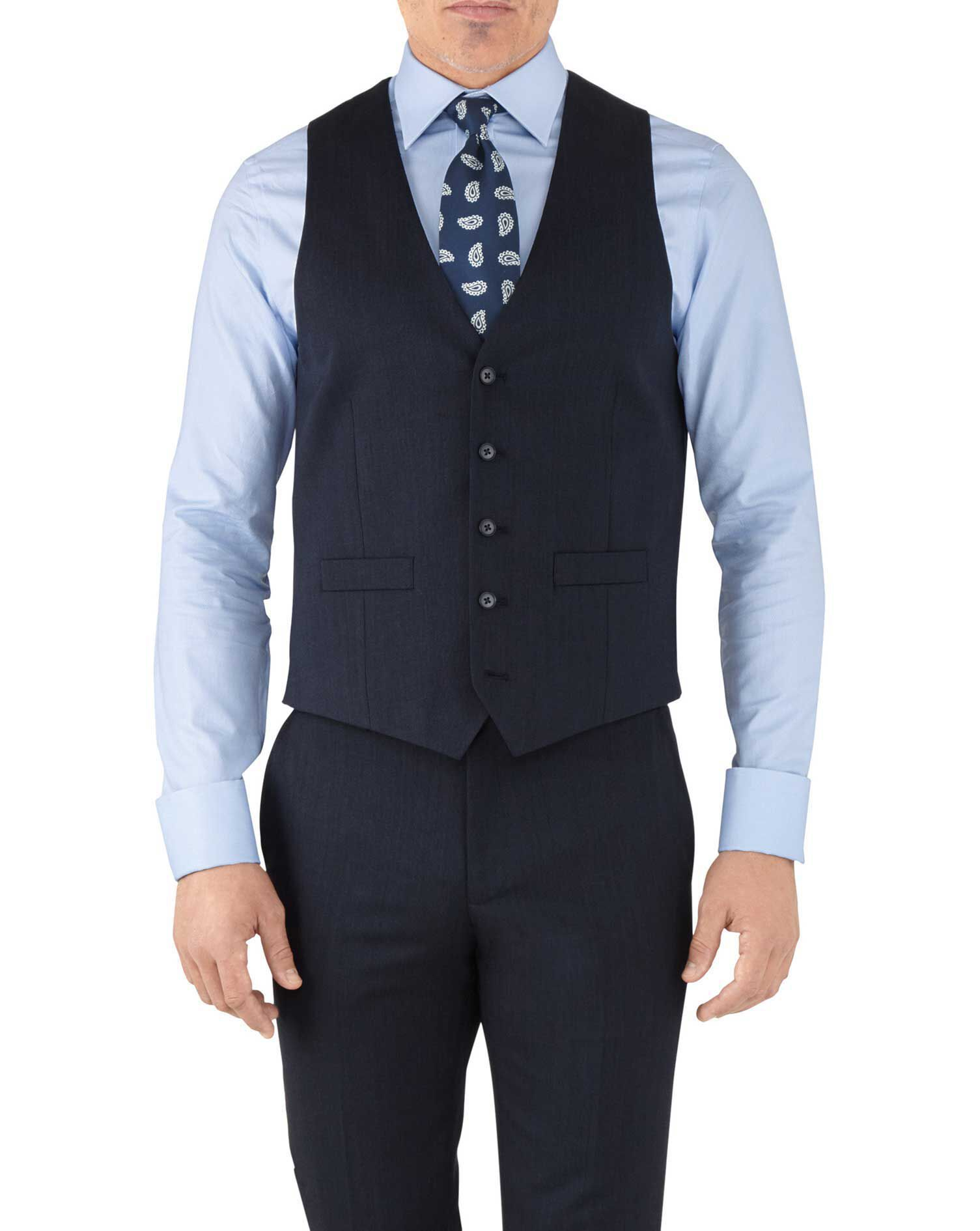 Navy Adjustable Fit Hairline Business Suit Wool Waistcoat Size w44 by Charles Tyrwhitt