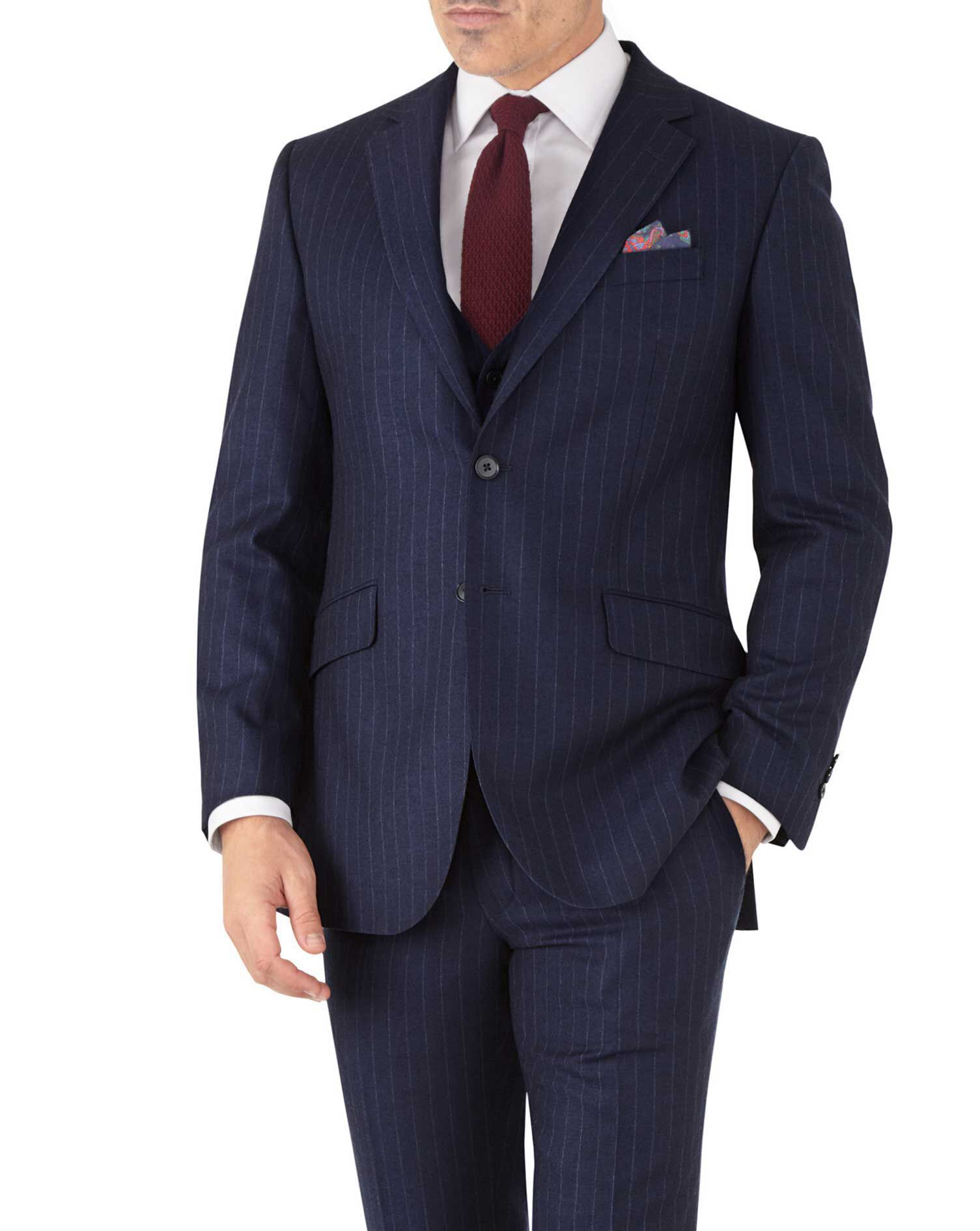 Navy Stripe Slim Fit Flannel Business Suit Wool Jacket Size 38 Short by Charles Tyrwhitt