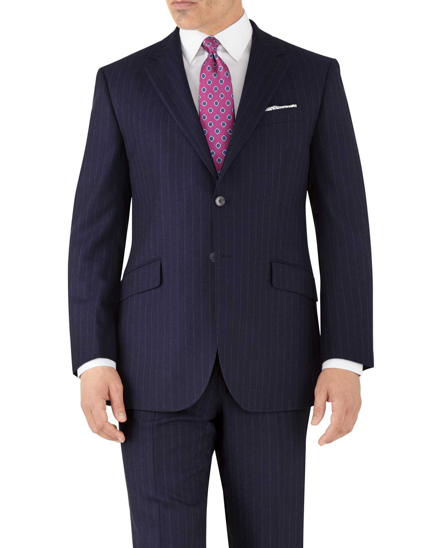Navy Stripe Classic Fit Flannel Business Suit Wool Jacket Size 44 Short by Charles Tyrwhitt