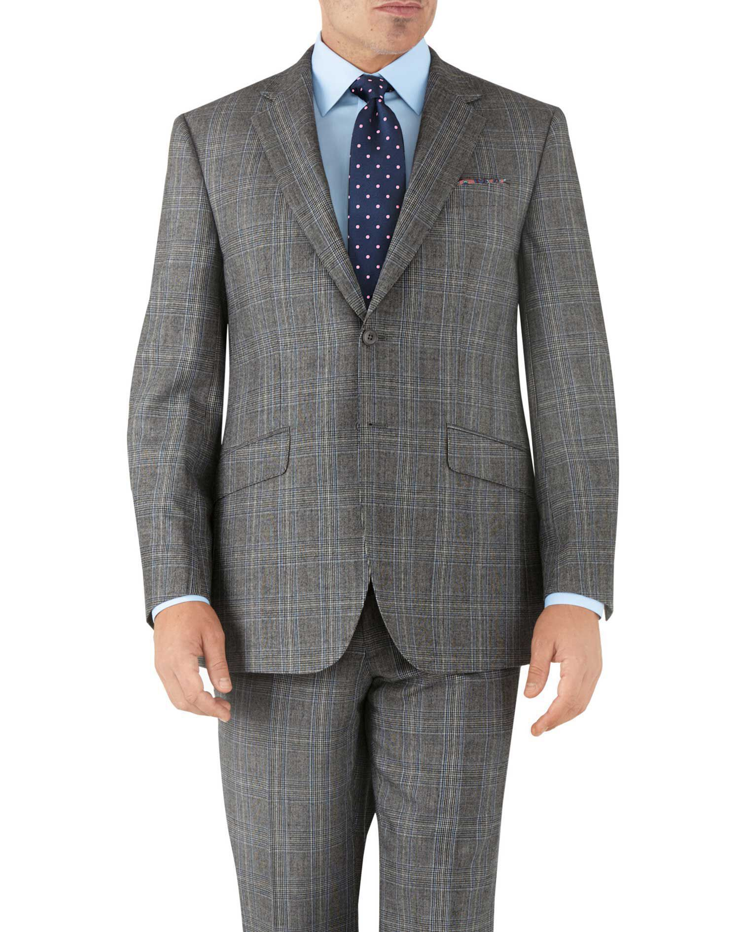 Silver Prince Of Wales Classic Fit Flannel Business Suit Wool Jacket Size 38 Short by Charles Tyrwhi