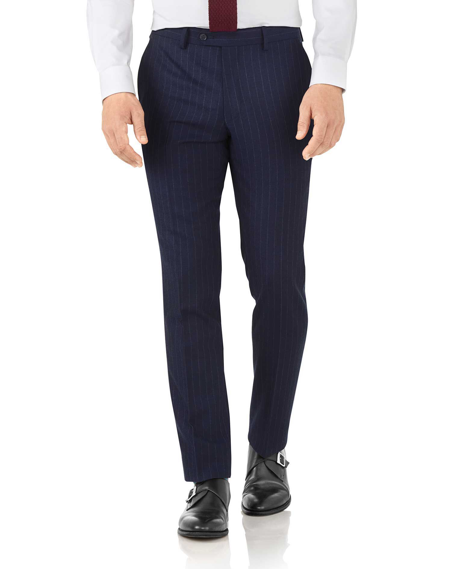 Navy Stripe Slim Fit Flannel Business Suit Trousers Size W32 L38 by Charles Tyrwhitt