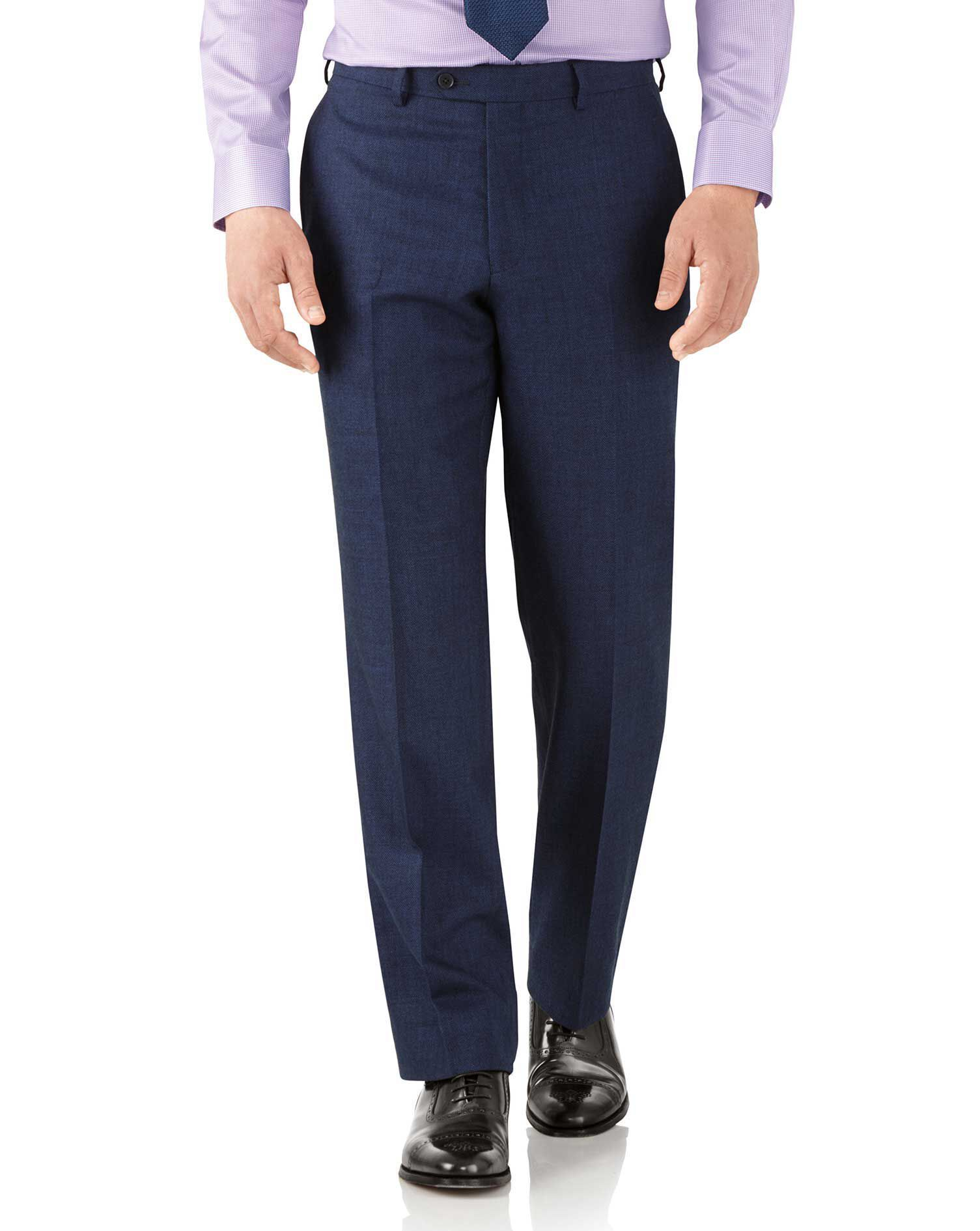 Royal Blue Classic Fit Flannel Business Suit Trousers Size W34 L32 by Charles Tyrwhitt