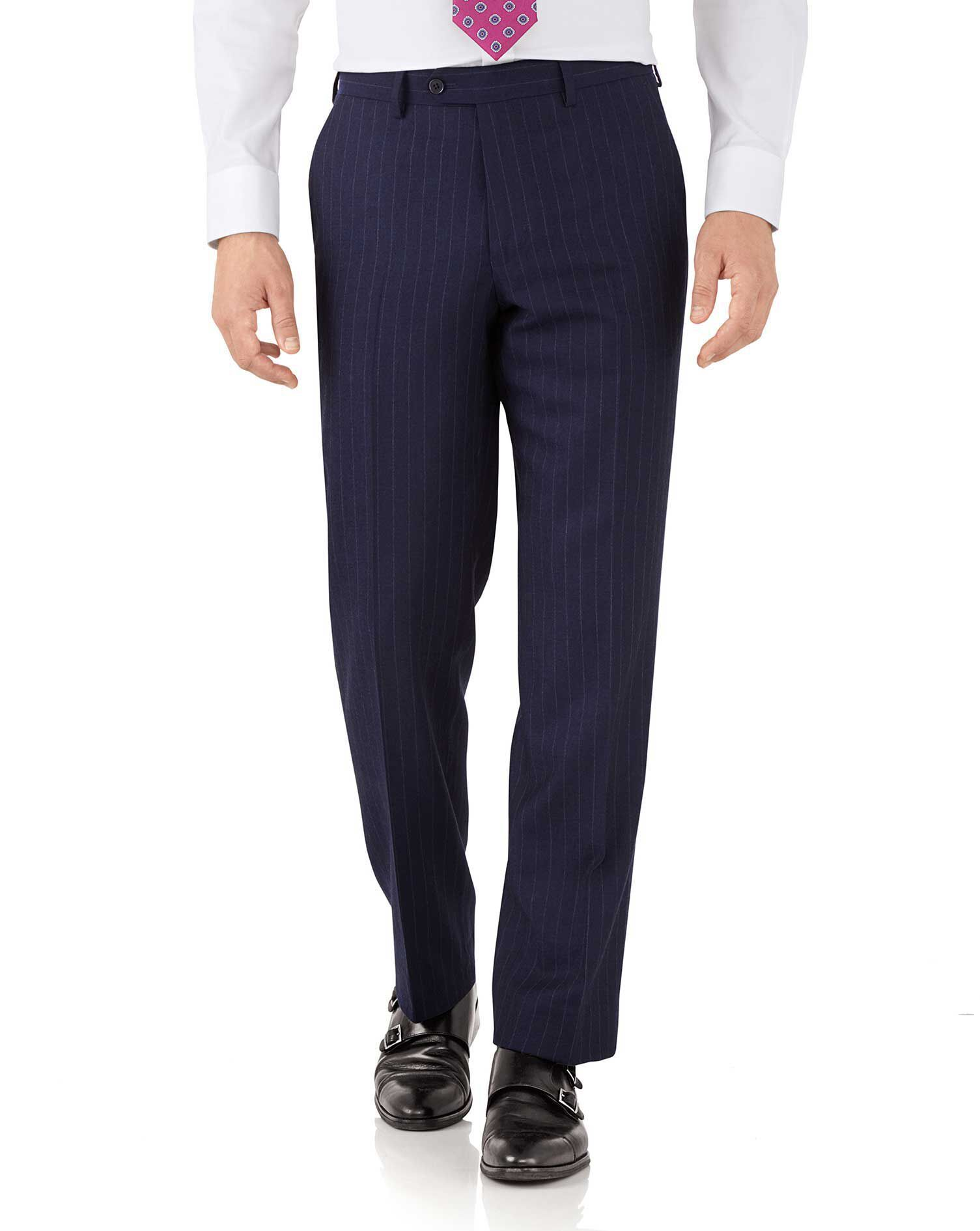 Navy Stripe Classic Fit Flannel Business Suit Trousers Size W38 L38 by Charles Tyrwhitt