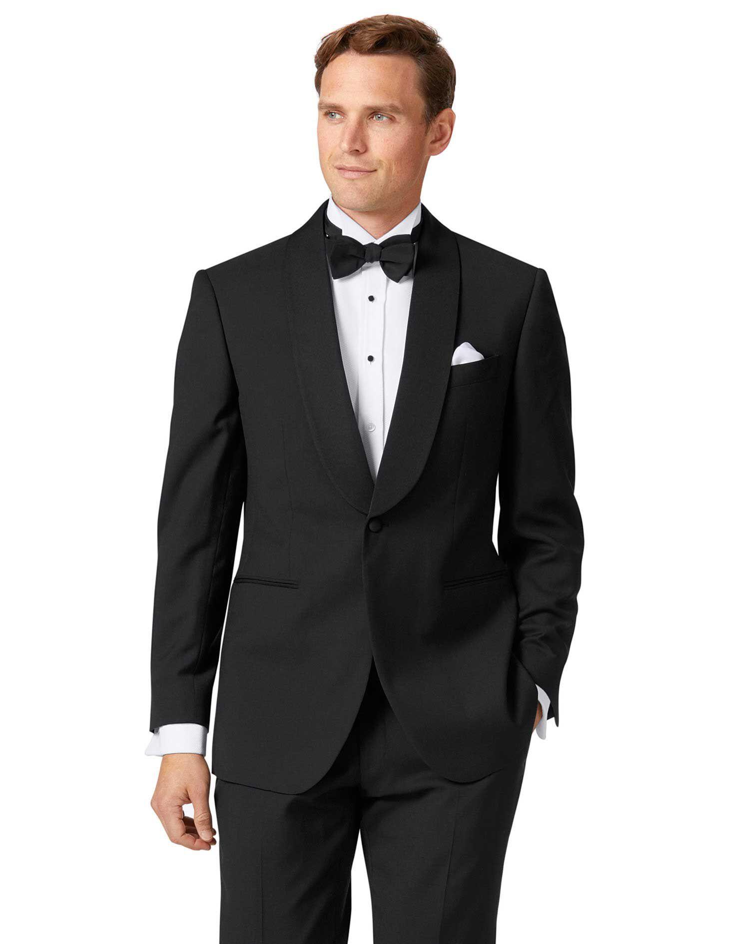 Black Slim Fit Shawl Collar Tuxedo Wool Jacket Size 46 by Charles Tyrwhitt