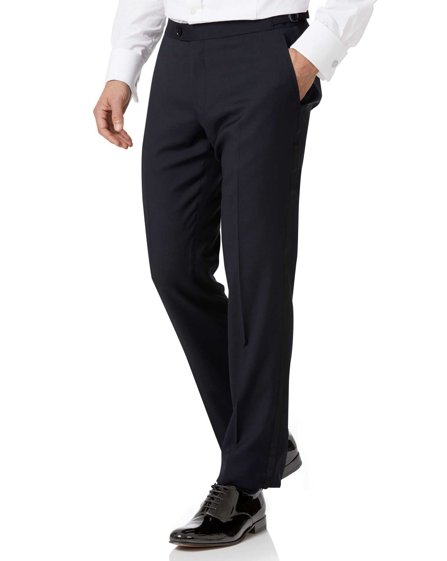 Navy Slim Fit Tuxedo Trousers Size W34 L38 by Charles Tyrwhitt