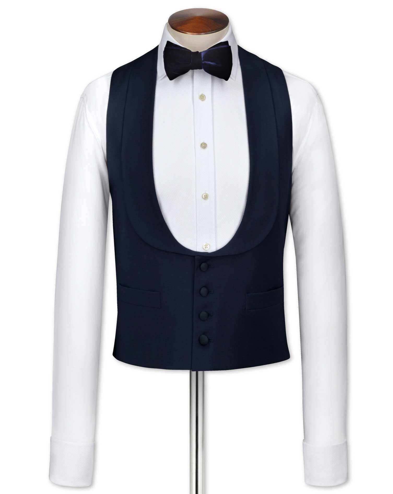 Edwardian Men's Formal Wear Charles Tyrwhitt Navy tuxedo waistcoat £70.00 AT vintagedancer.com