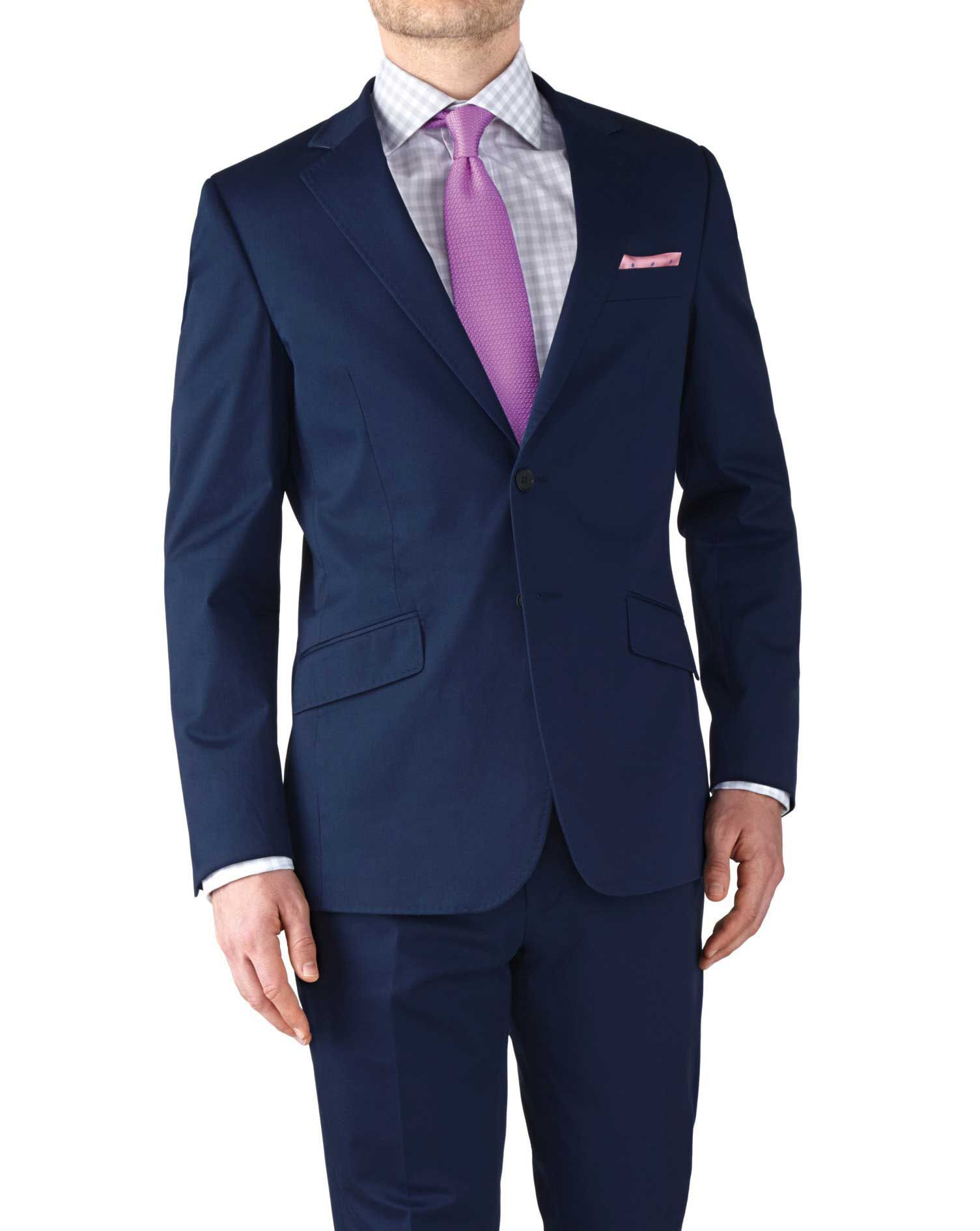 Navy Slim Fit Italian Cotton Business Suit Jacket Size 40 by Charles Tyrwhitt