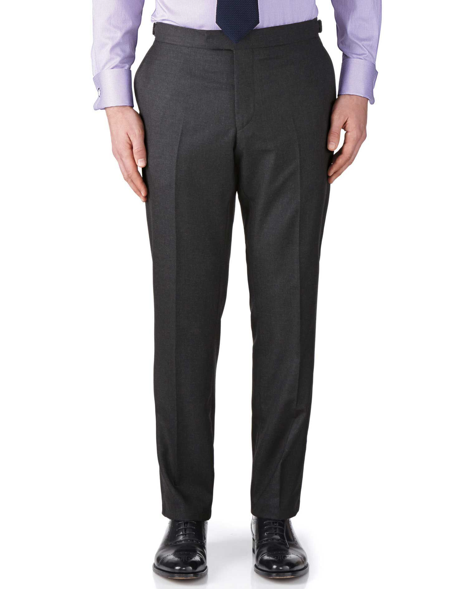 Charcoal Classic Fit British Panama Luxury Suit Trousers Size W32 L38 by Charles Tyrwhitt