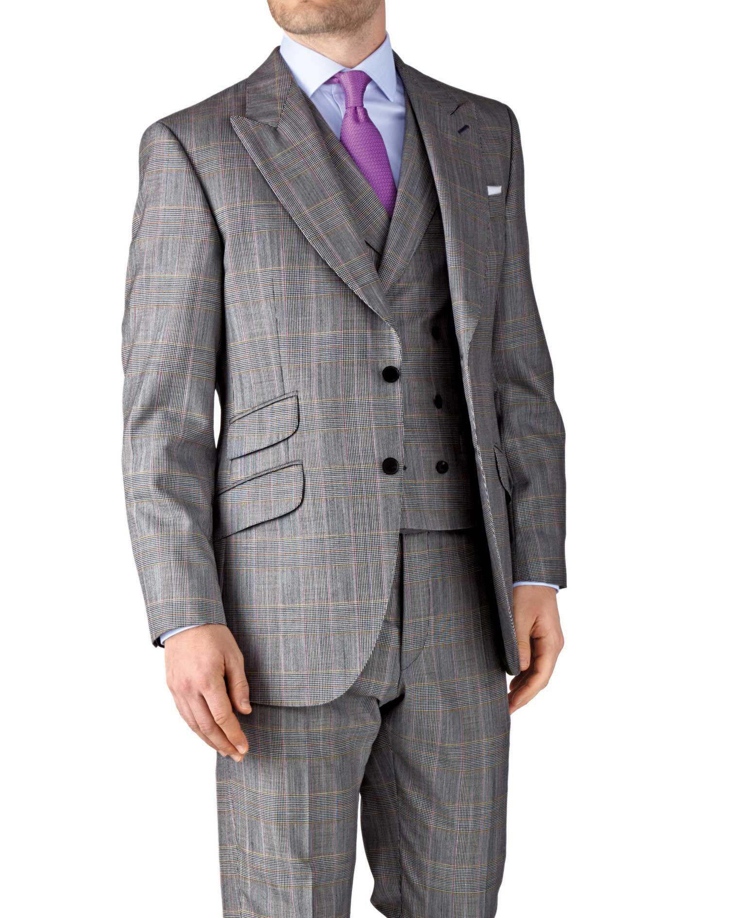 Grey Check Slim Fit British Panama Luxury Suit Wool Jacket Size 36 Regular by Charles Tyrwhitt