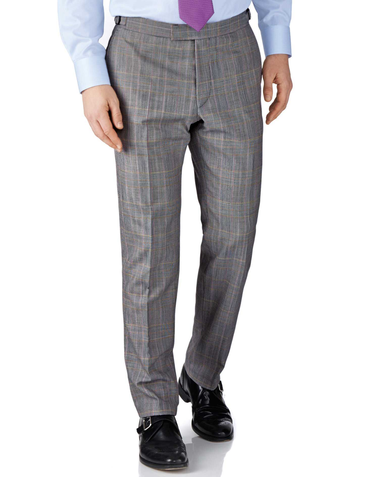 Grey Check Slim Fit British Panama Luxury Suit Trousers Size W30 L38 by Charles Tyrwhitt