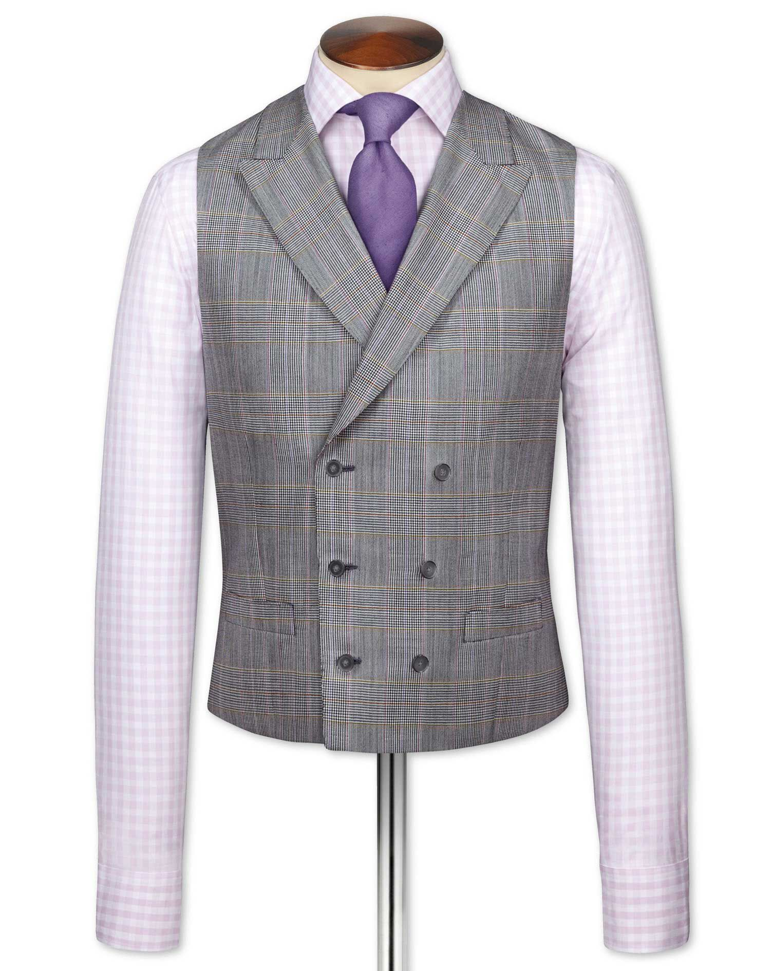1920s Mens Clothing Charles Tyrwhitt Grey Check British Panama Luxury Suit Wool Waistcoat Size w40 £50.00 AT vintagedancer.com