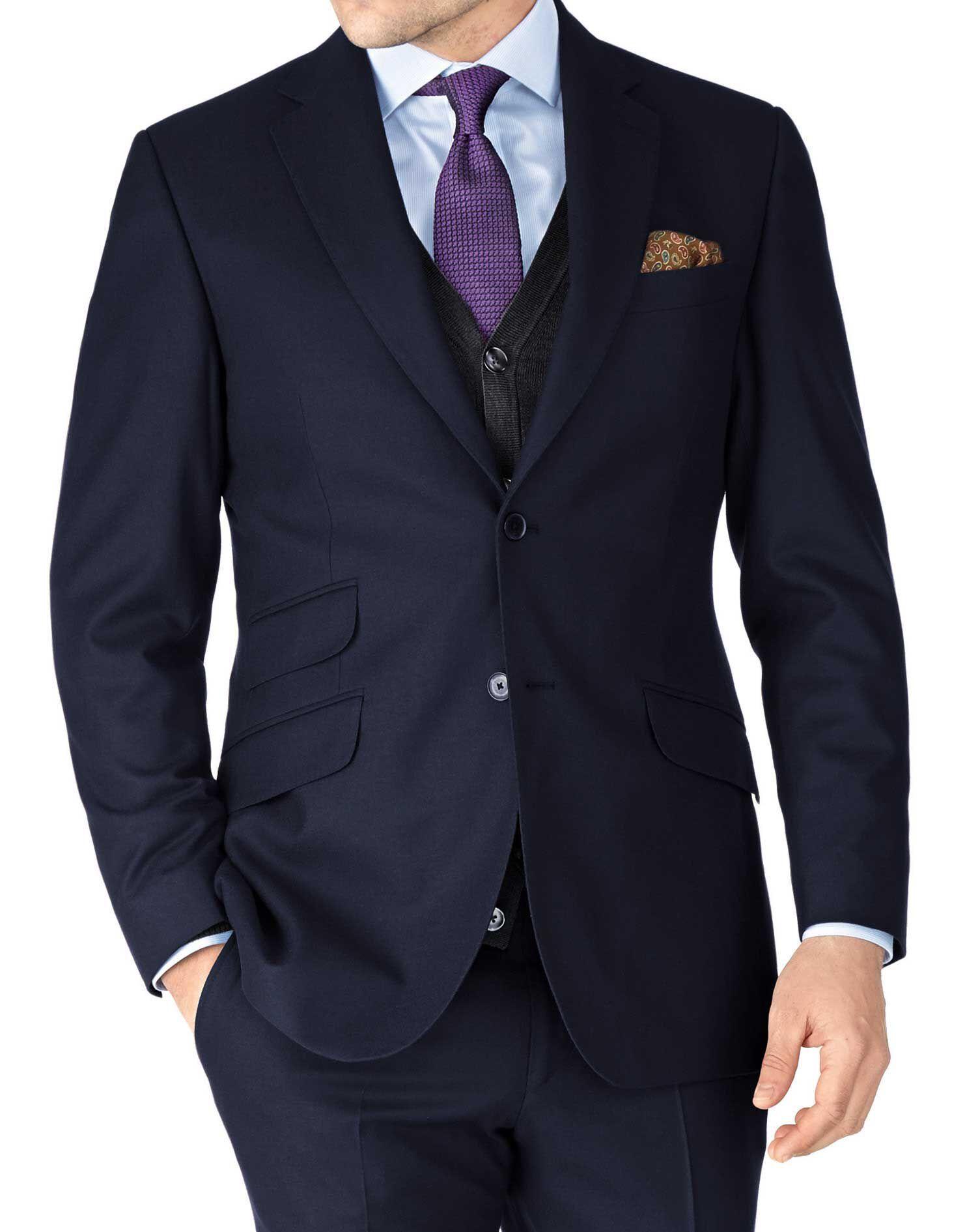 Navy Slim Fit British Serge Luxury Suit Wool Jacket Size 44 Long by Charles Tyrwhitt