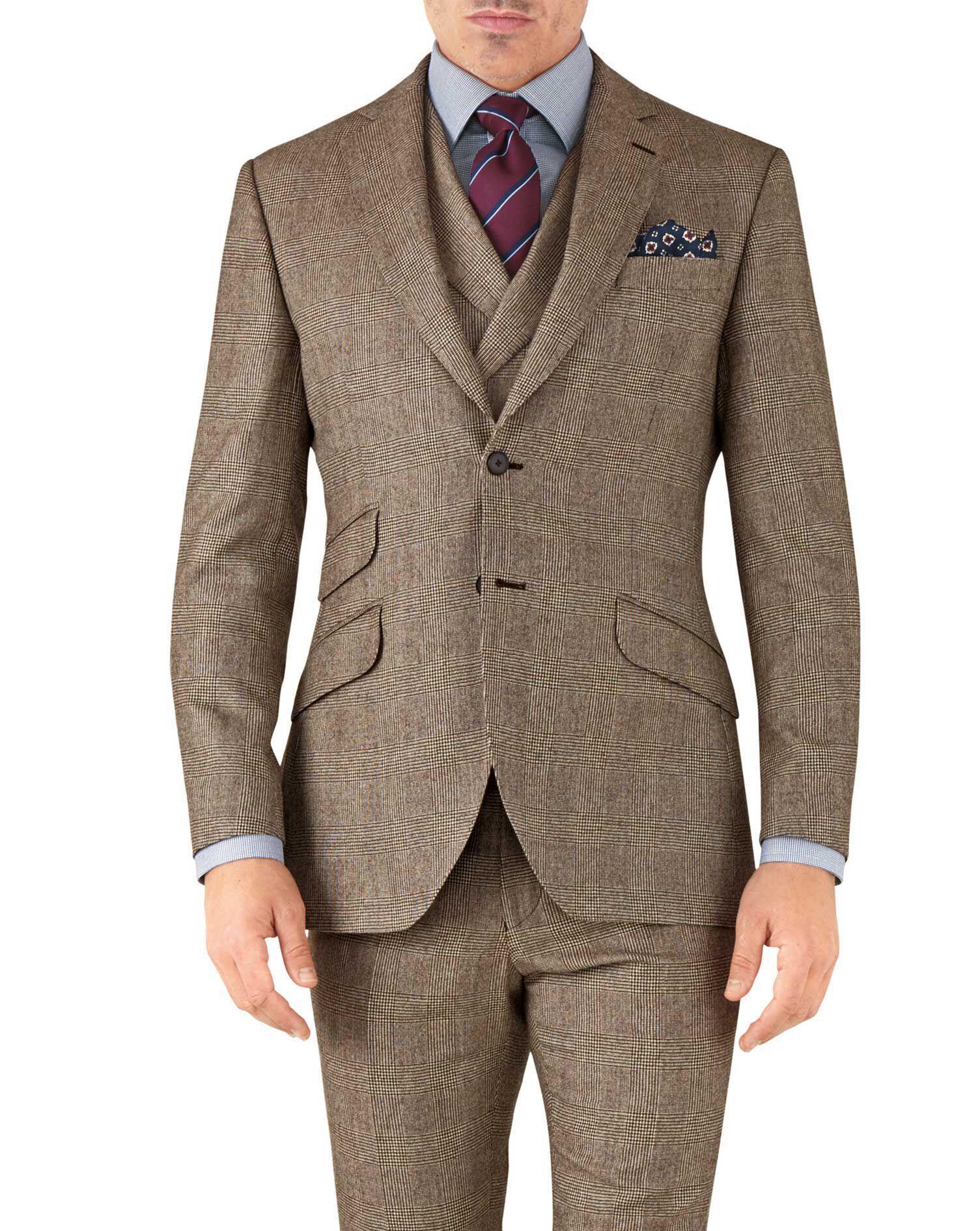 Tan Check Slim Fit British Serge Luxury Suit Wool Jacket Size 46 Long by Charles Tyrwhitt