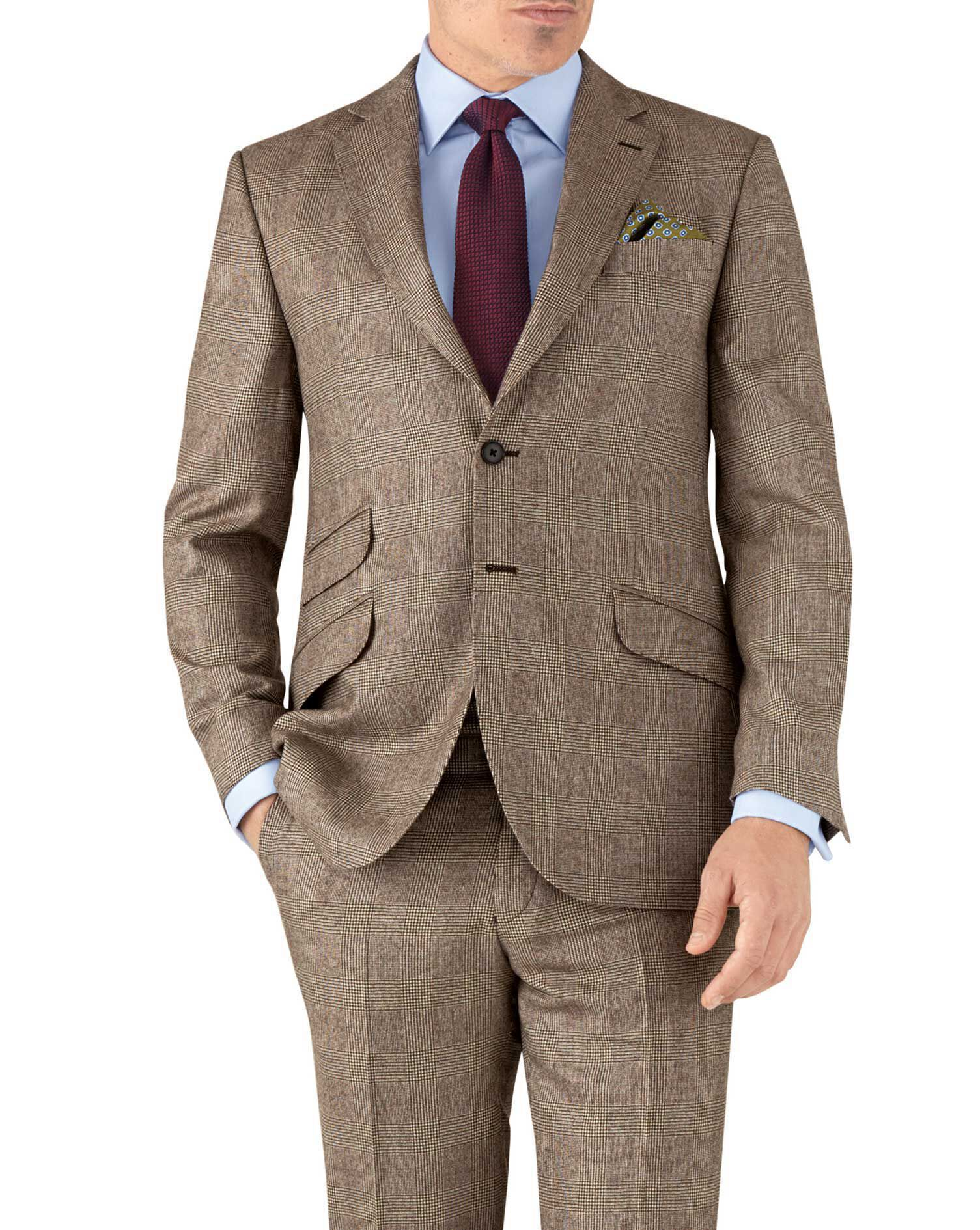 Tan Check Classic Fit British Serge Luxury Suit Wool Jacket Size 46 Long by Charles Tyrwhitt