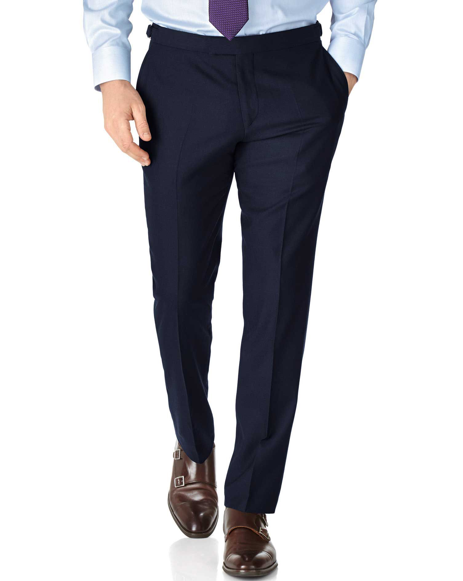 Navy Slim Fit British Serge Luxury Suit Trousers Size W40 L38 by Charles Tyrwhitt