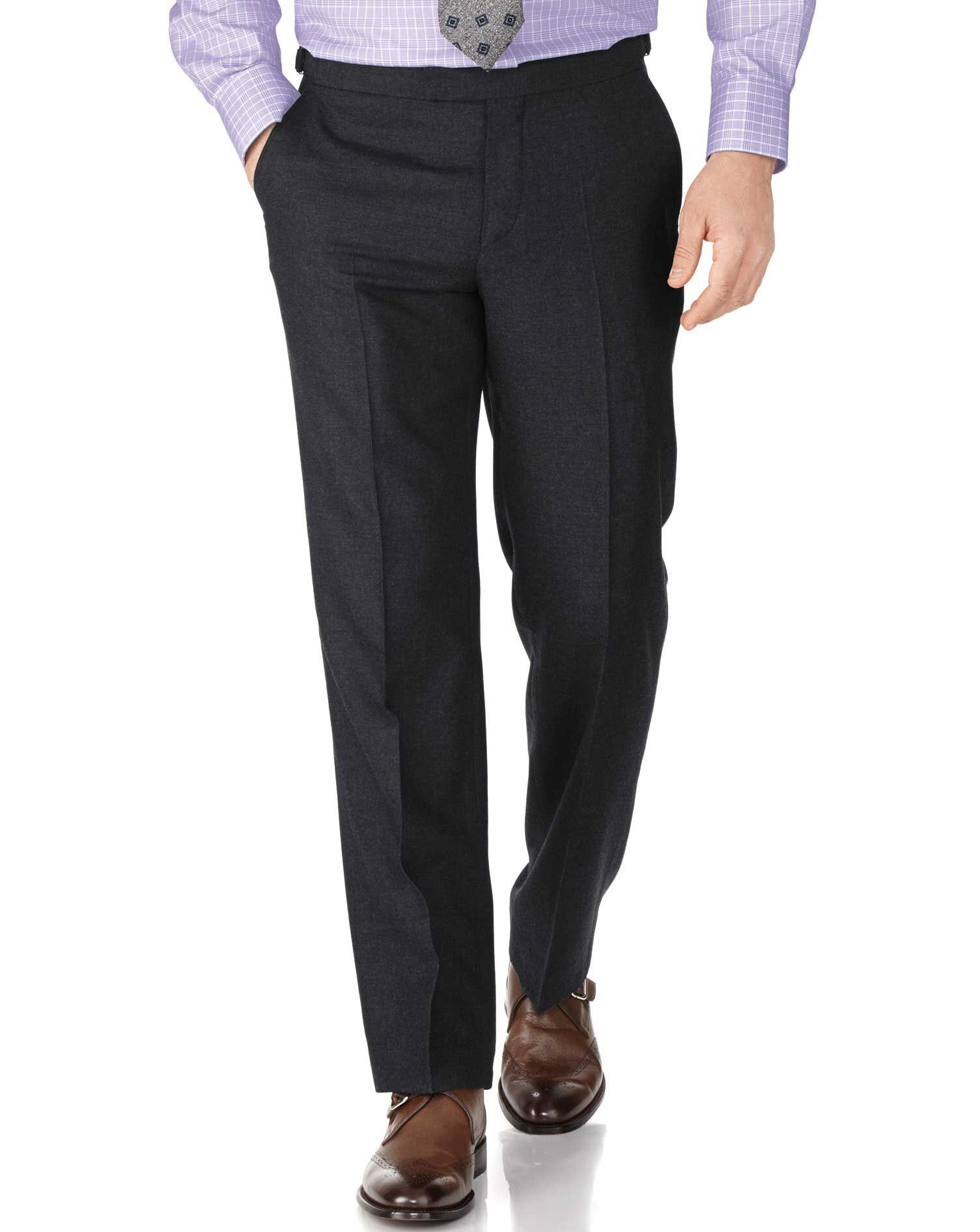 Charcoal Classic Fit British Serge Luxury Suit Trousers Size W32 L32 by Charles Tyrwhitt