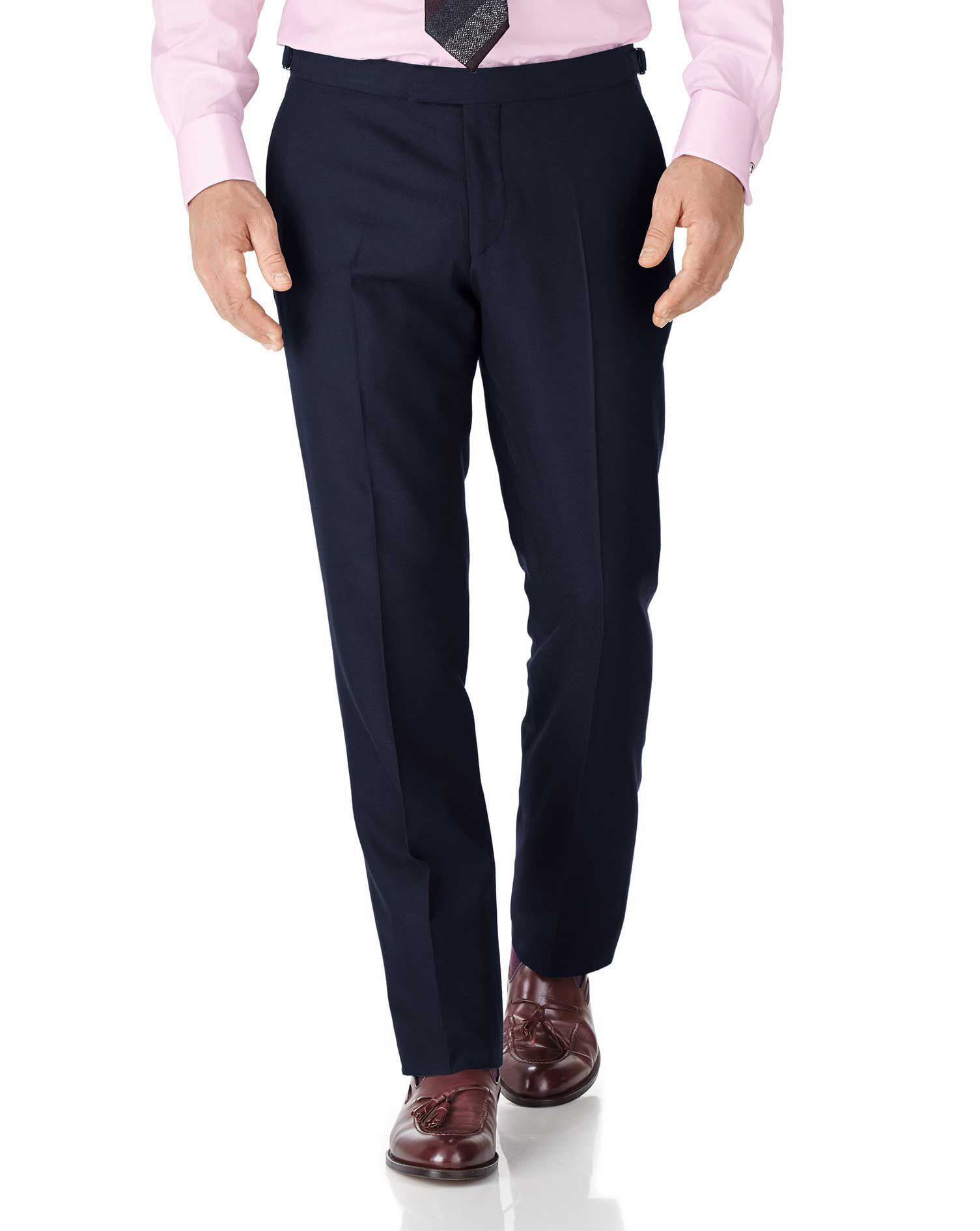 Navy Classic Fit British Serge Luxury Suit Trousers Size W34 L34 by Charles Tyrwhitt