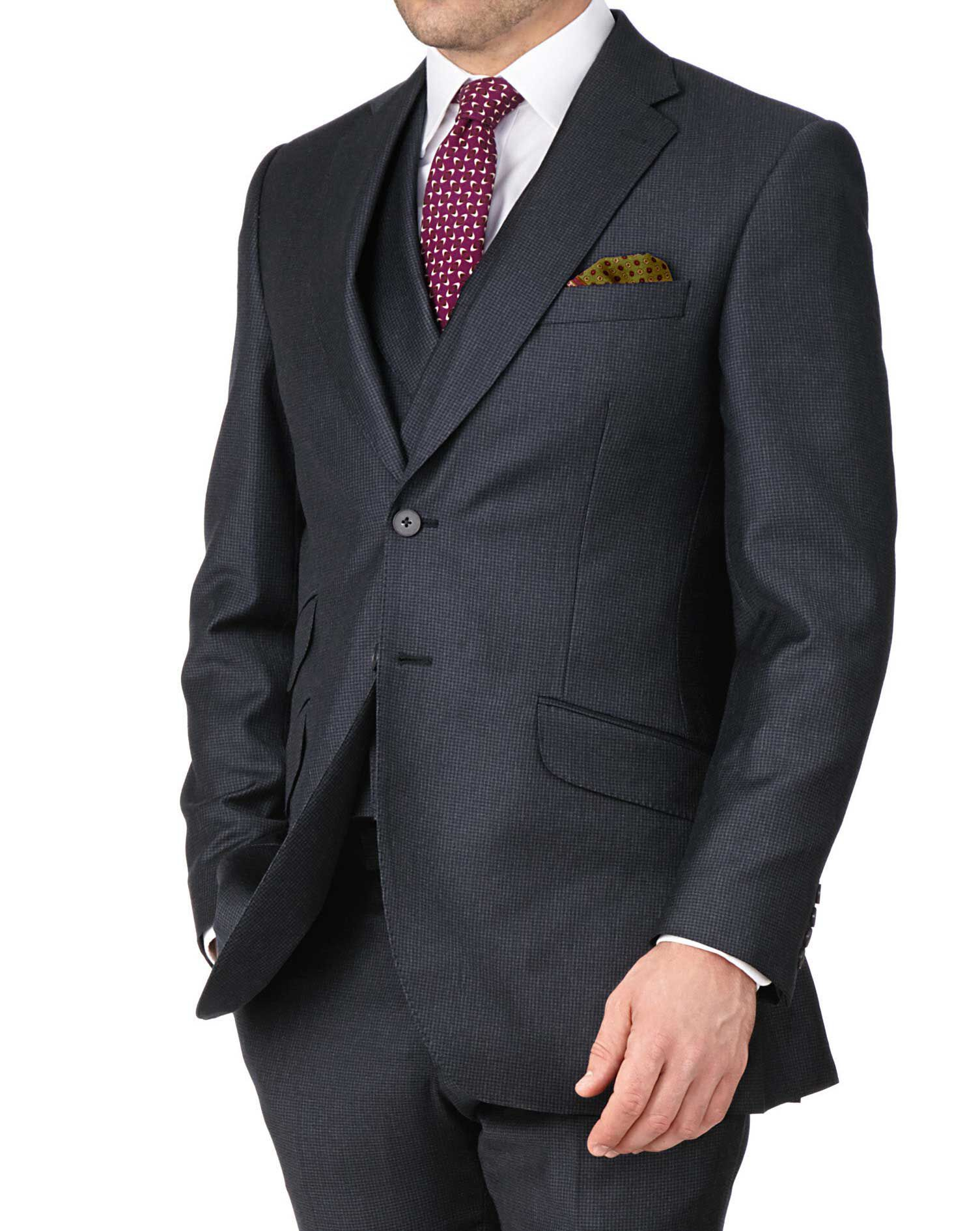 Blue Slim Fit British Puppytooth Luxury Suit Wool Jacket Size 38 by Charles Tyrwhitt