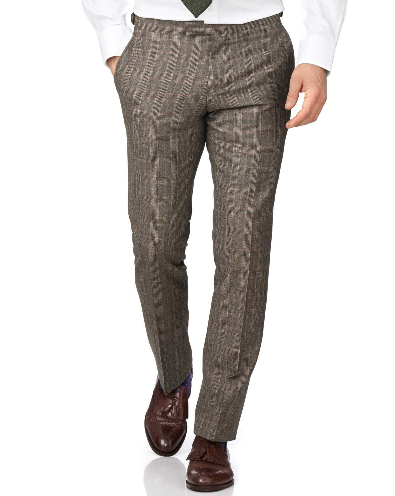 Tan Slim Fit British Check Flannel Luxury Suit Trousers Size W40 L38 by Charles Tyrwhitt